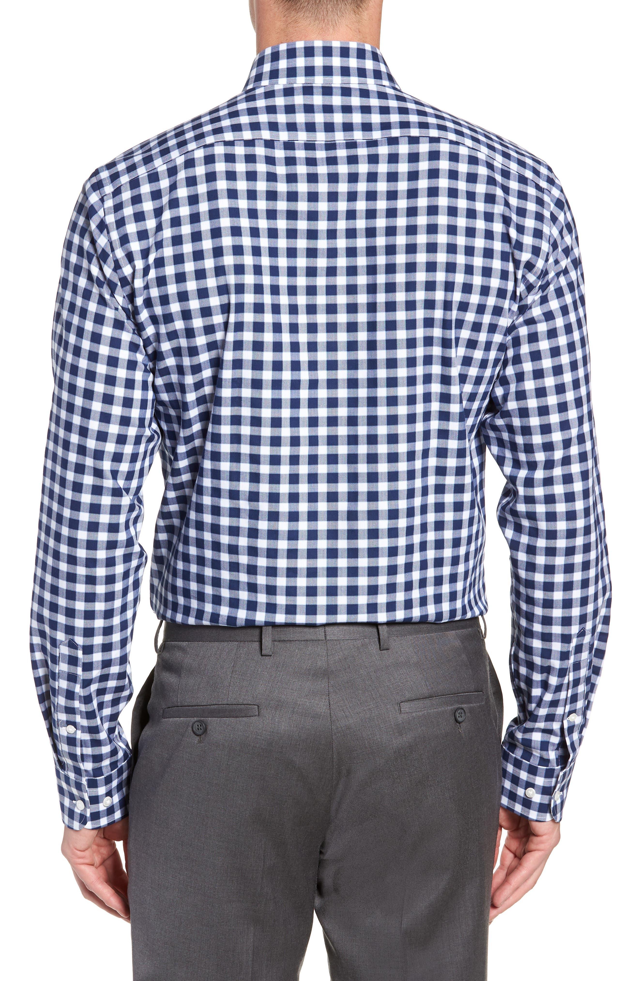 Tech-Smart Trim Fit Stretch Check Dress Shirt,                             Alternate thumbnail 3, color,                             NAVY PEACOAT