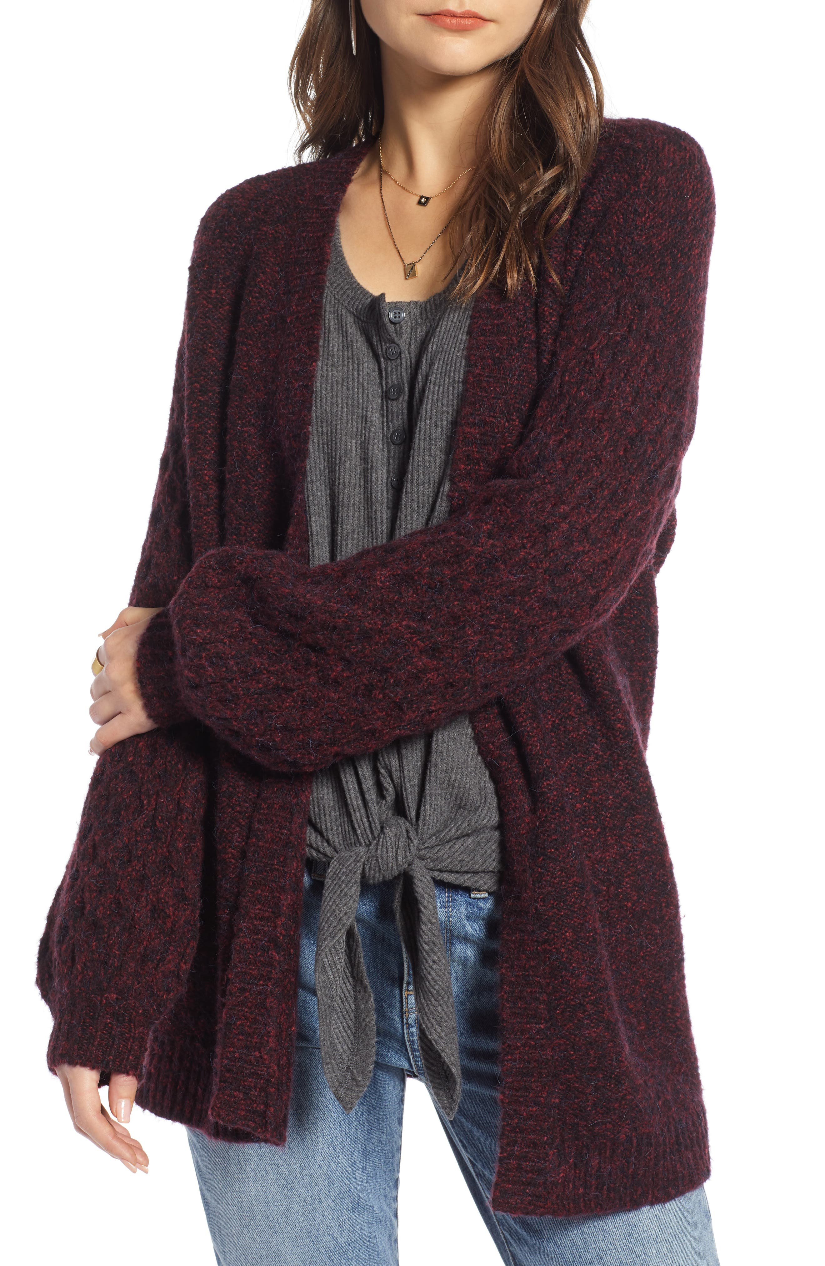 Treasure & Bond Chunky Knit Open Front Cardigan, Red