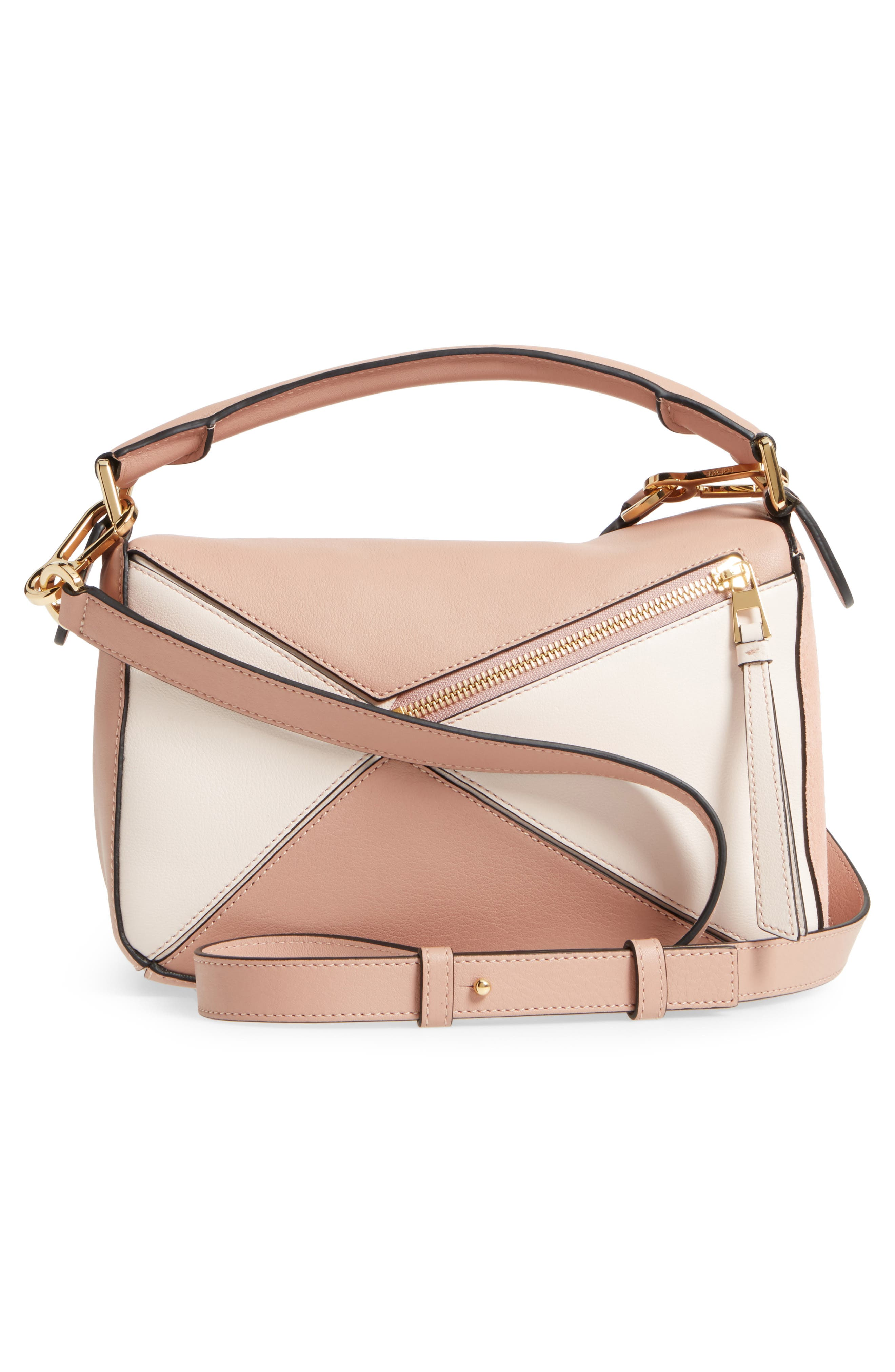 Small Puzzle Bicolor Leather Bag,                             Alternate thumbnail 3, color,                             BLUSH MULTITONE