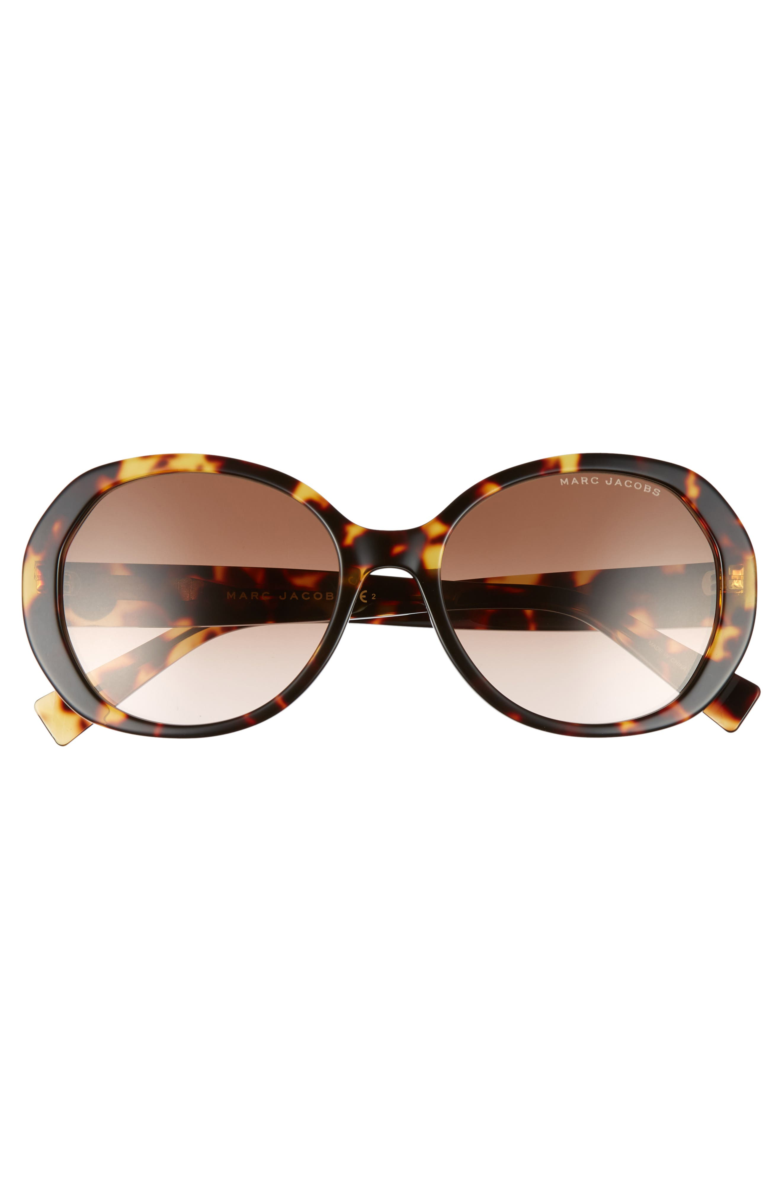 MARC JACOBS,                             56mm Round Sunglasses,                             Alternate thumbnail 3, color,                             BLACK DARK HAVANA