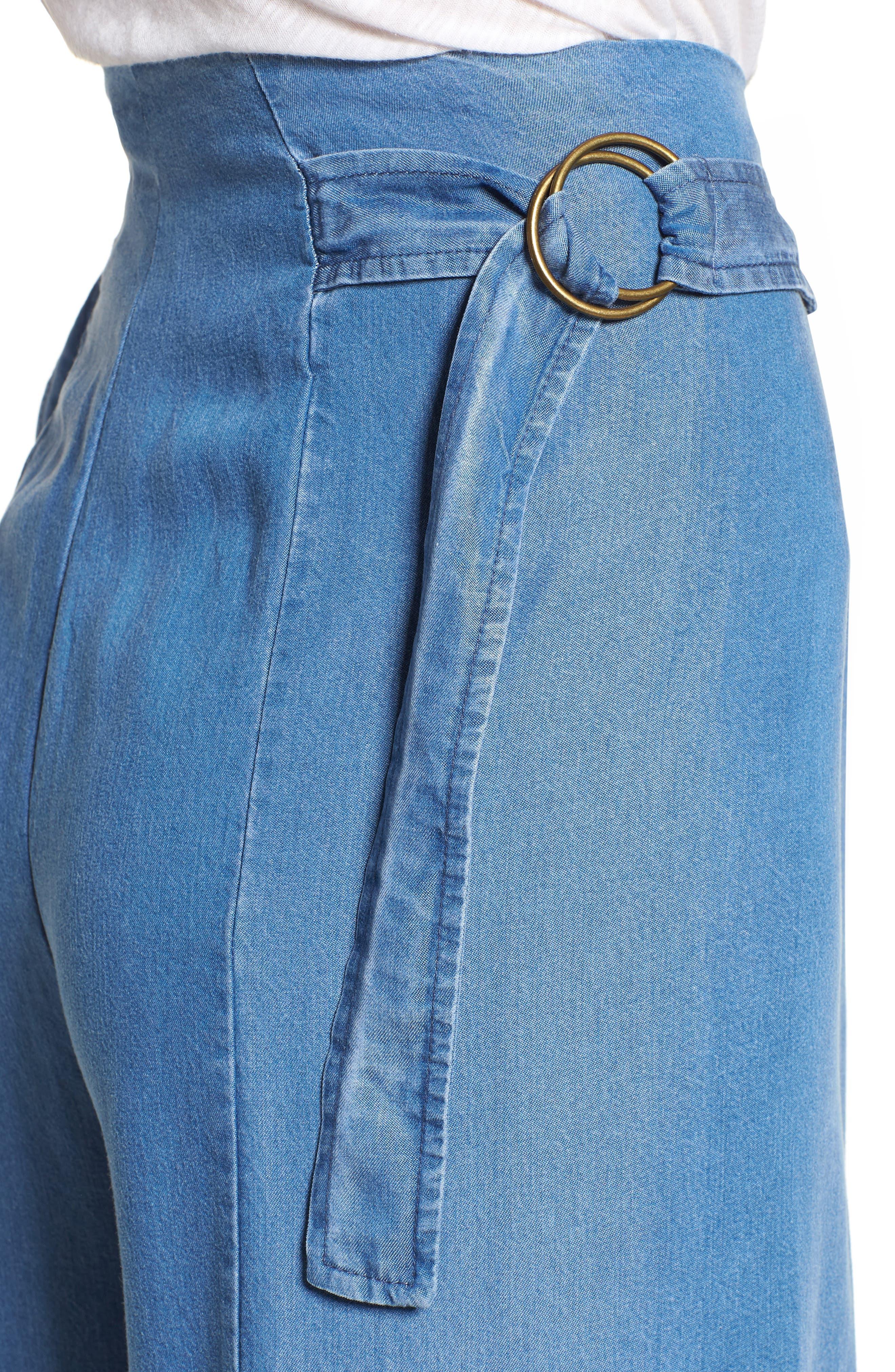 Bishop + Young O-Ring Wide Leg Denim Pants,                             Alternate thumbnail 4, color,                             CHAMBRAY