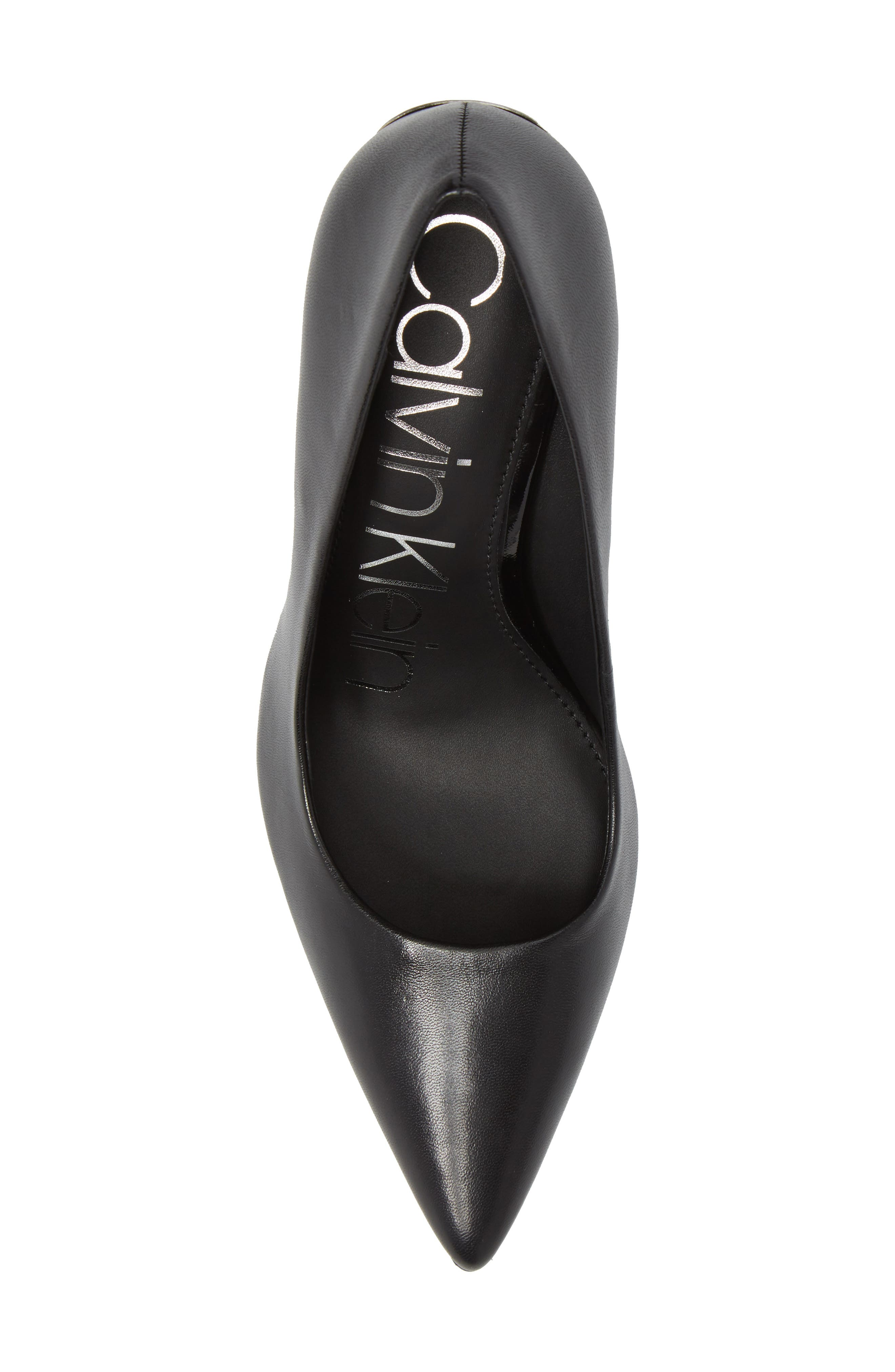 Ronna Pointy Toe Pump,                             Alternate thumbnail 5, color,                             BLACK LEATHER
