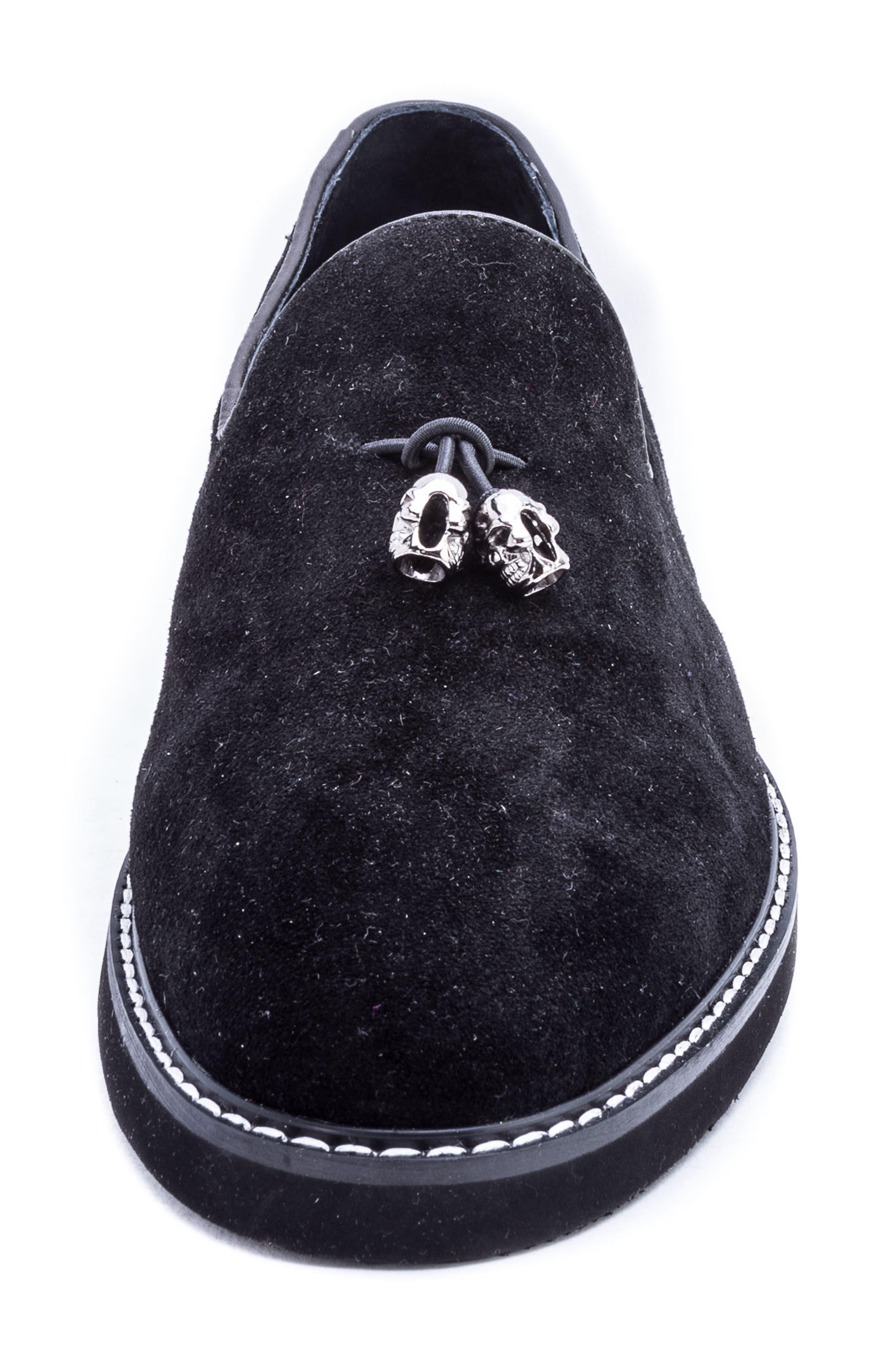 Heston Tassel Loafer,                             Alternate thumbnail 4, color,                             BLACK SUEDE