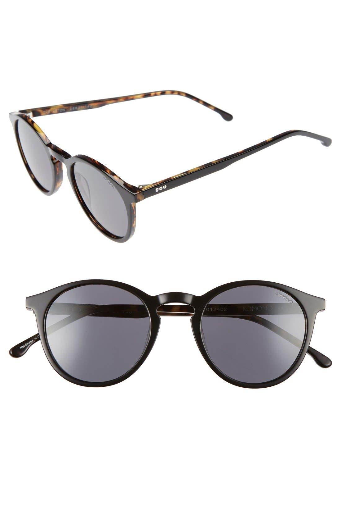 Aston 48mm Round Sunglasses, Main, color, 001