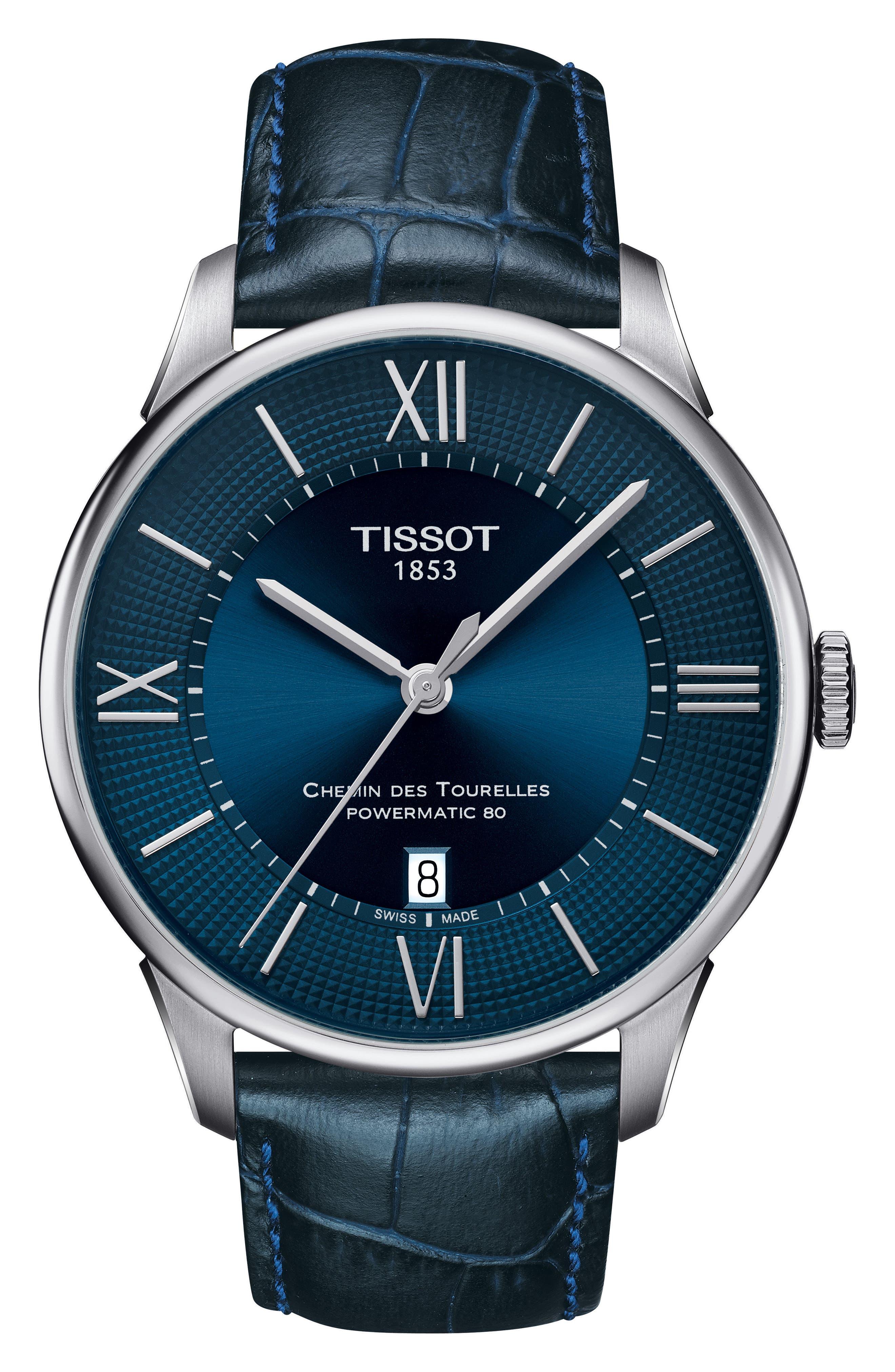 Chemin Des Tourellles Automatic Leather Strap Watch, 42mm,                         Main,                         color, BLUE/ SILVER