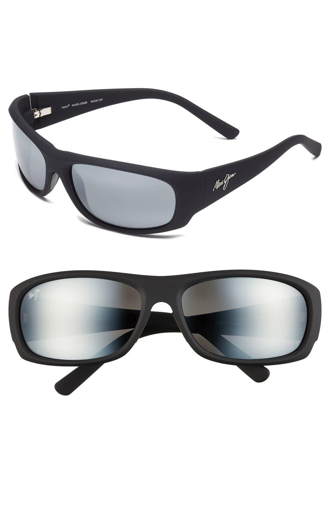 'Ikaika - PolarizedPlus<sup>®</sup>2' 64mm Sunglasses,                         Main,                         color, MATTE BLACK GREY