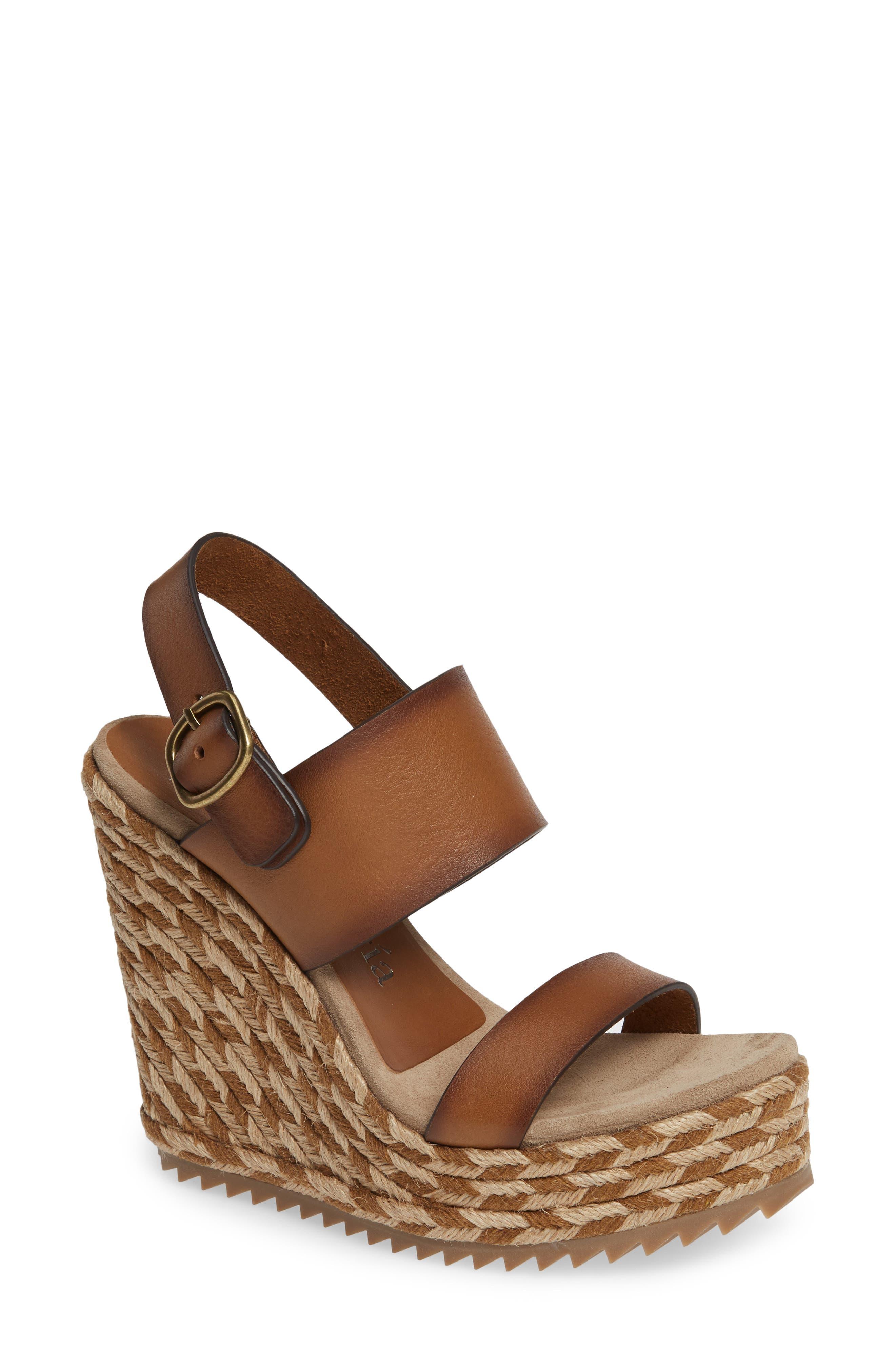 Tait Woven Wedge Sandal,                             Main thumbnail 1, color,                             CIGAR VACCHETTA