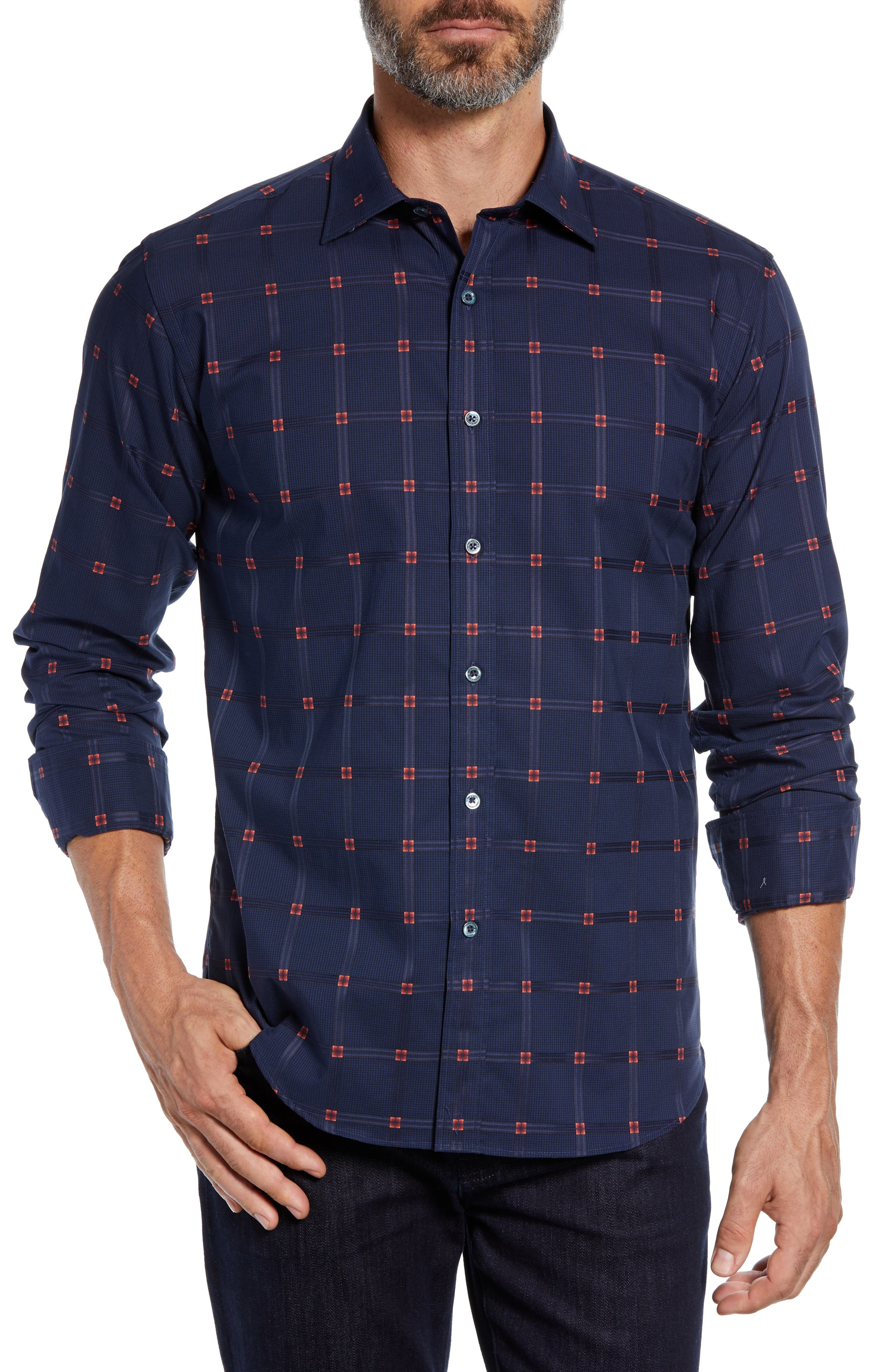 Shaped Fit Grid Sport Shirt,                         Main,                         color, NAVY