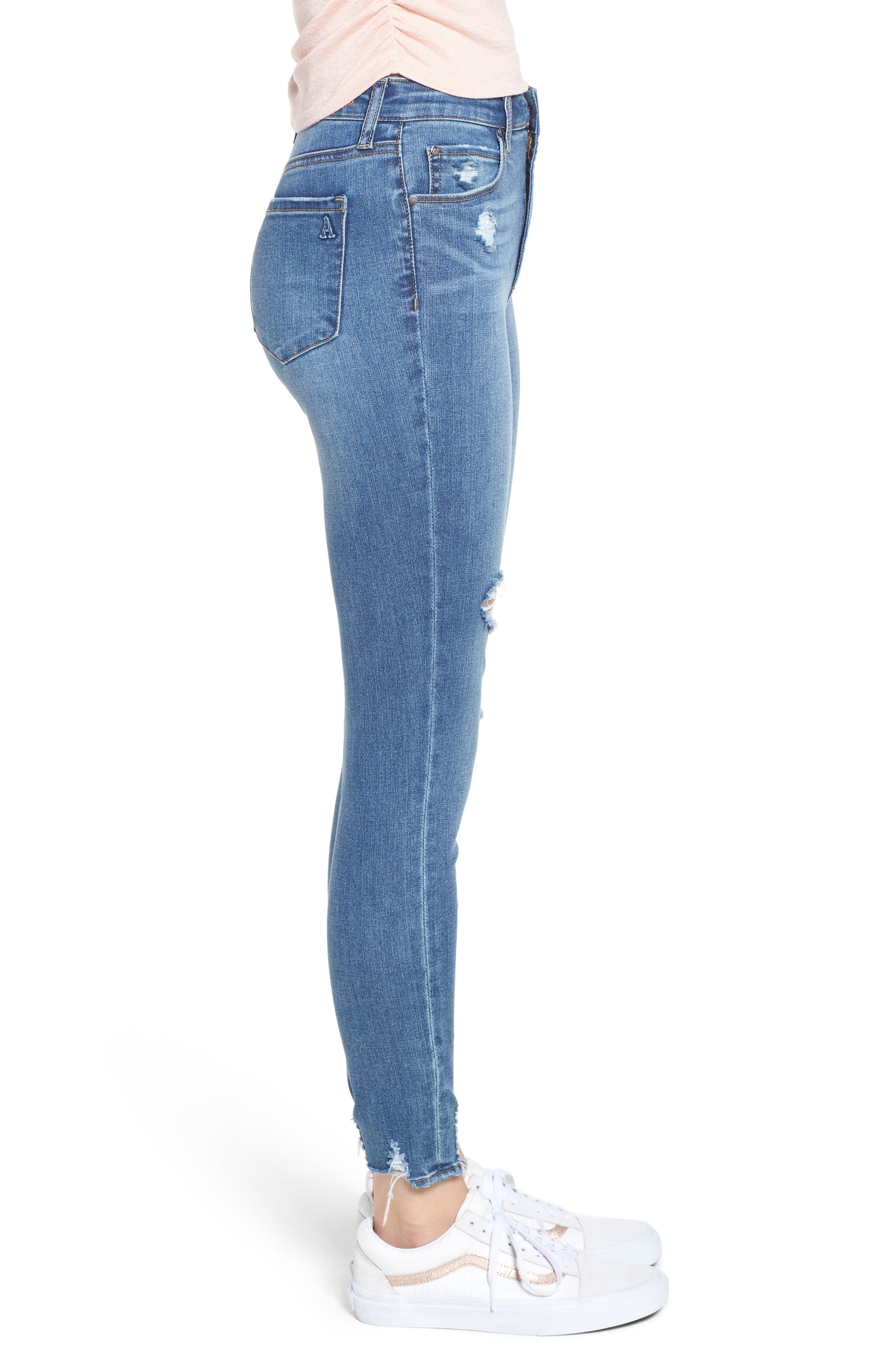 Heather High Waist Distressed Skinny Jeans,                             Alternate thumbnail 3, color,                             453