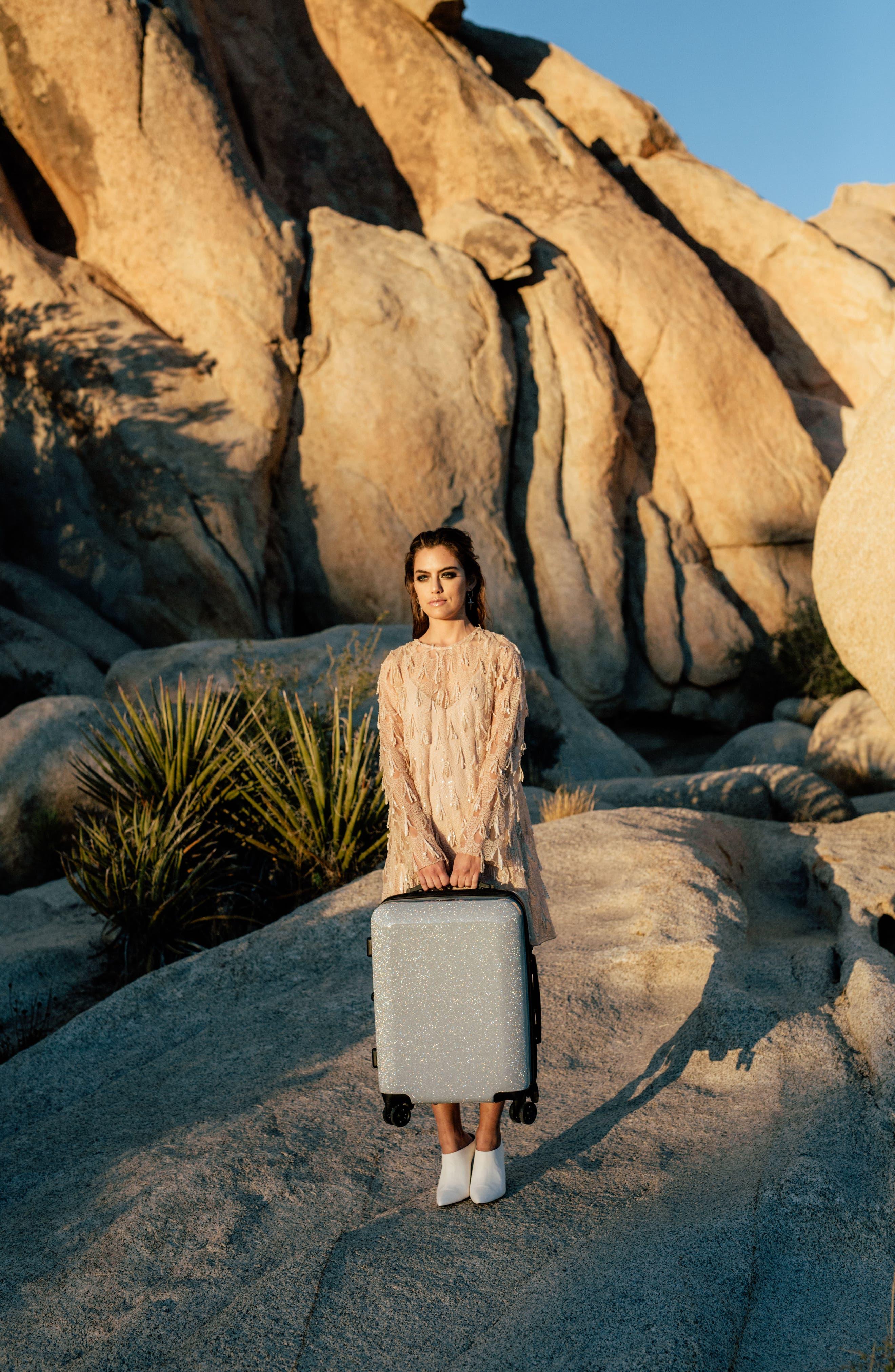 Medora Glitter 20-Inch Hardshell Spinner Carry-On Suitcase,                             Alternate thumbnail 7, color,                             SILVER STARDUST