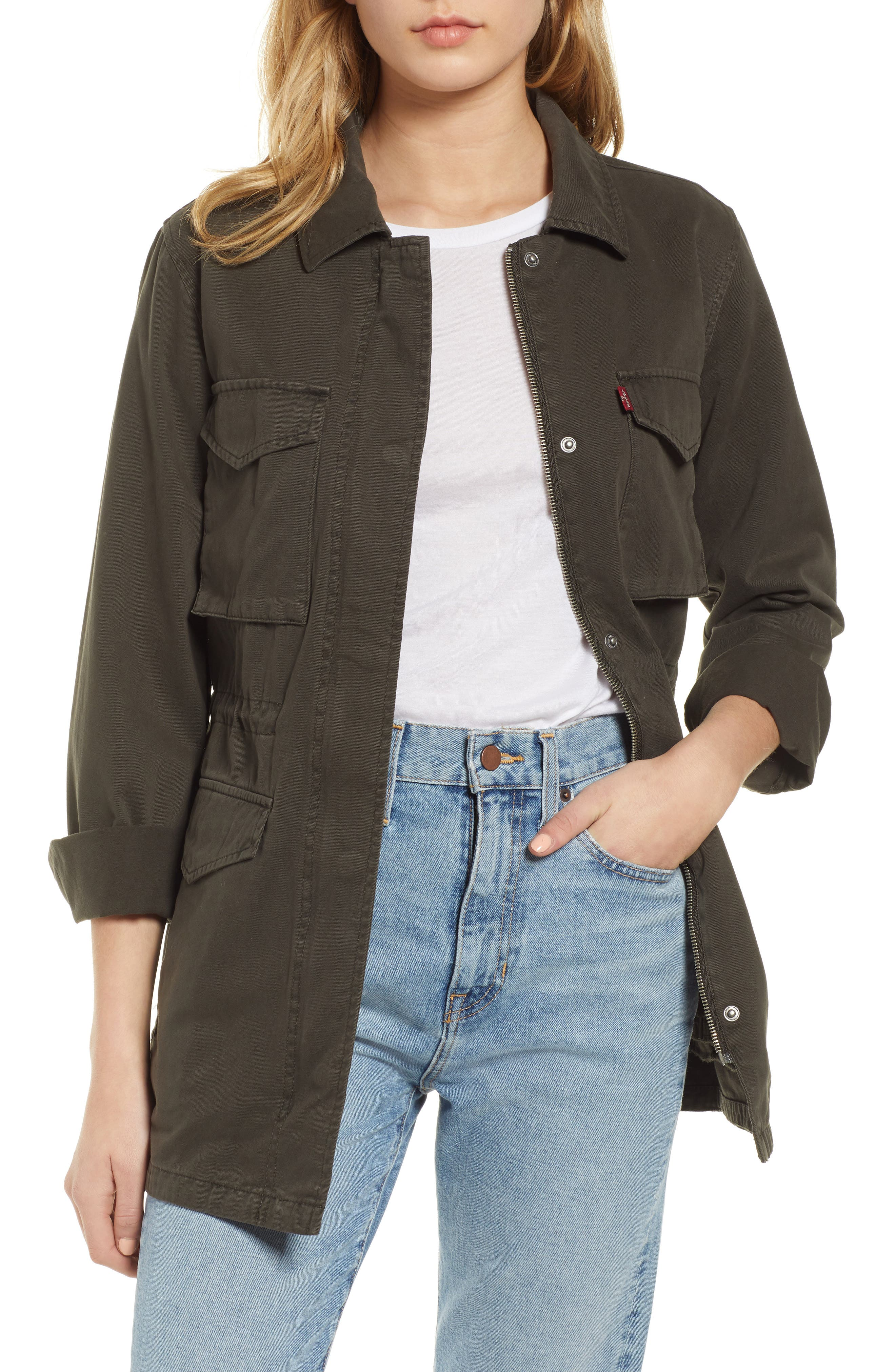 Cotton Oversize Military Jacket, Main, color, OLIVE