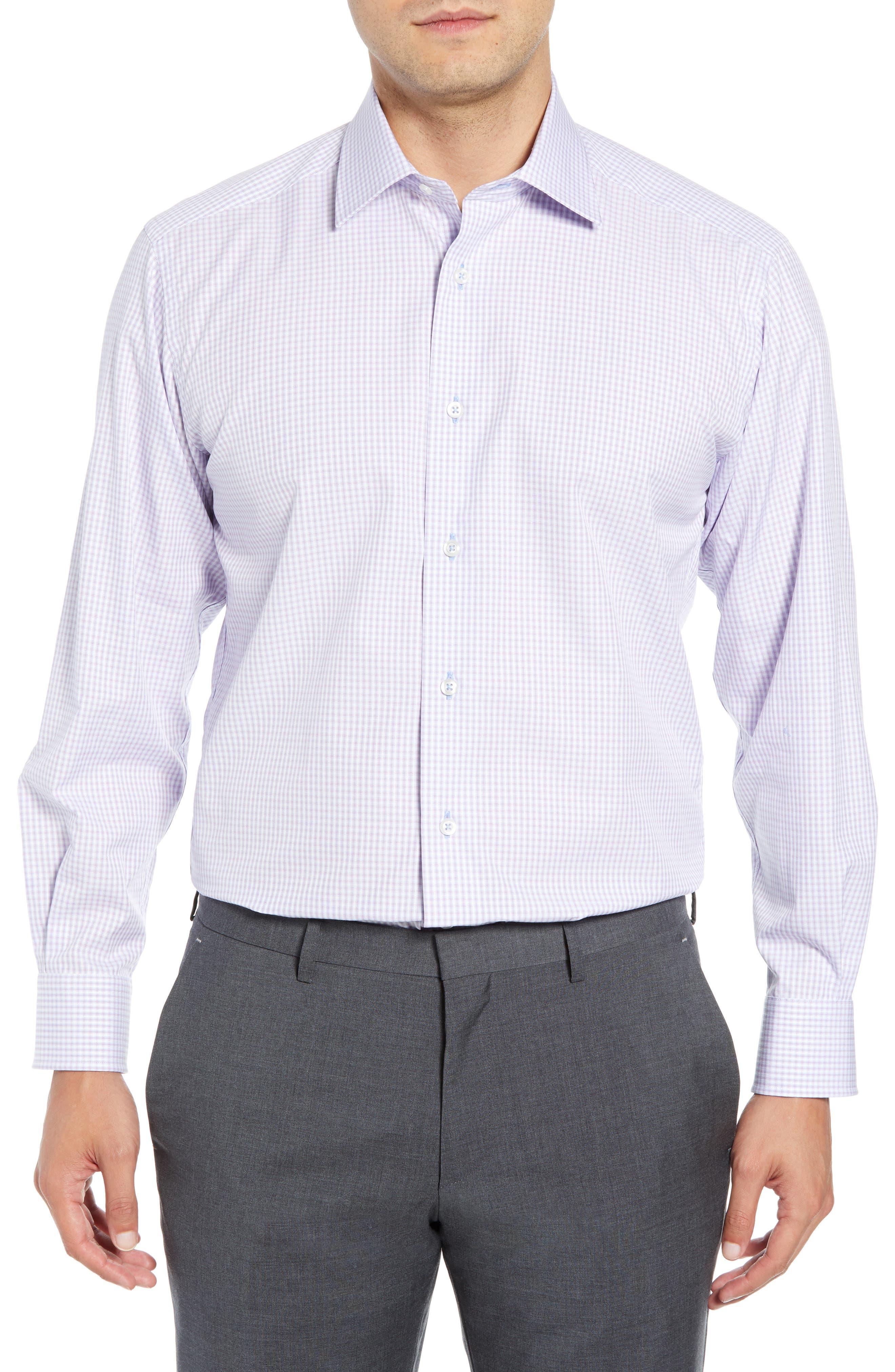 DAVID DONAHUE Men'S Regular-Fit Textured Plaid Dress Shirt in Berry