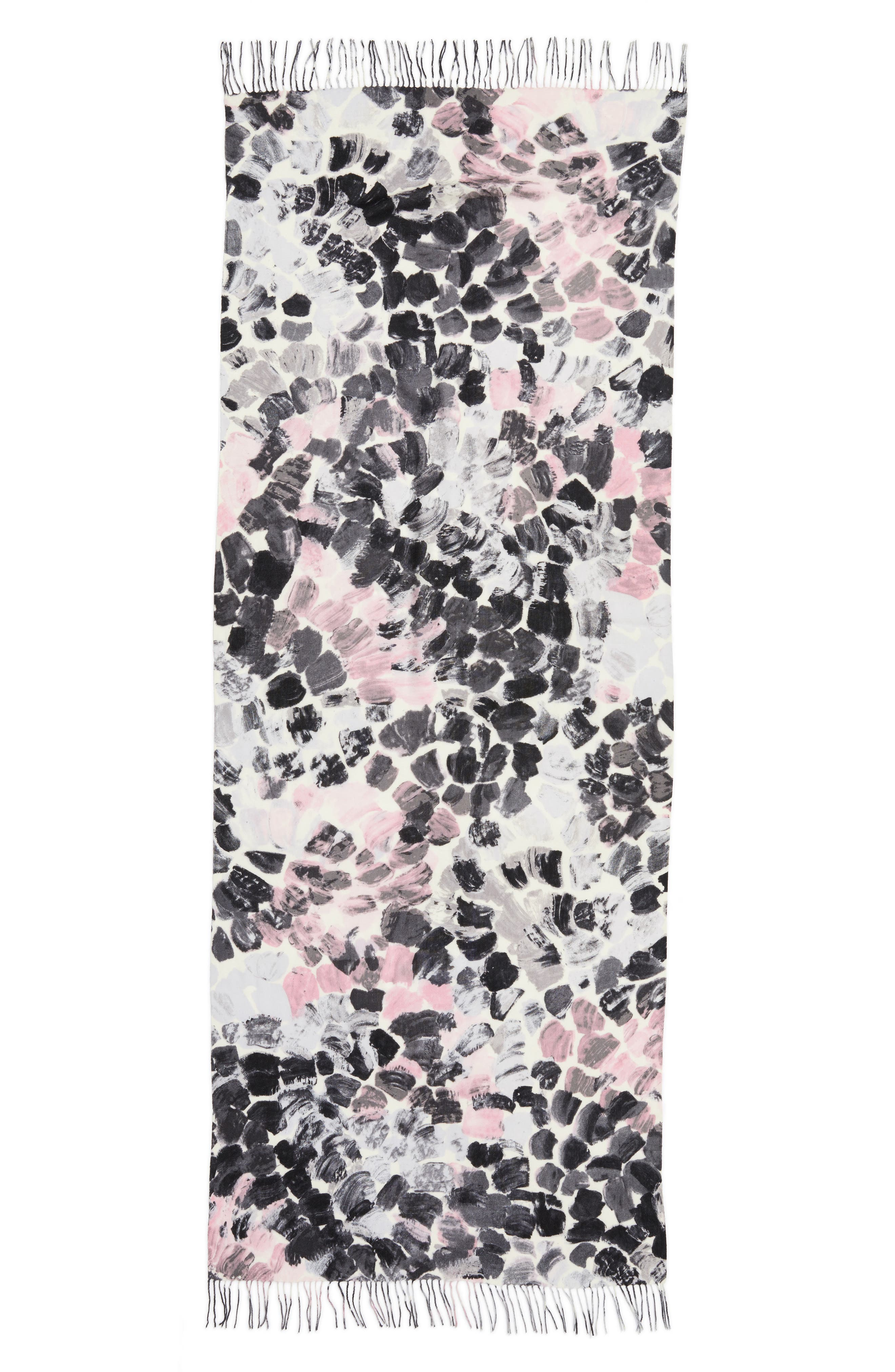 Marine Mosaic Print Wool & Cashmere Scarf,                             Alternate thumbnail 9, color,