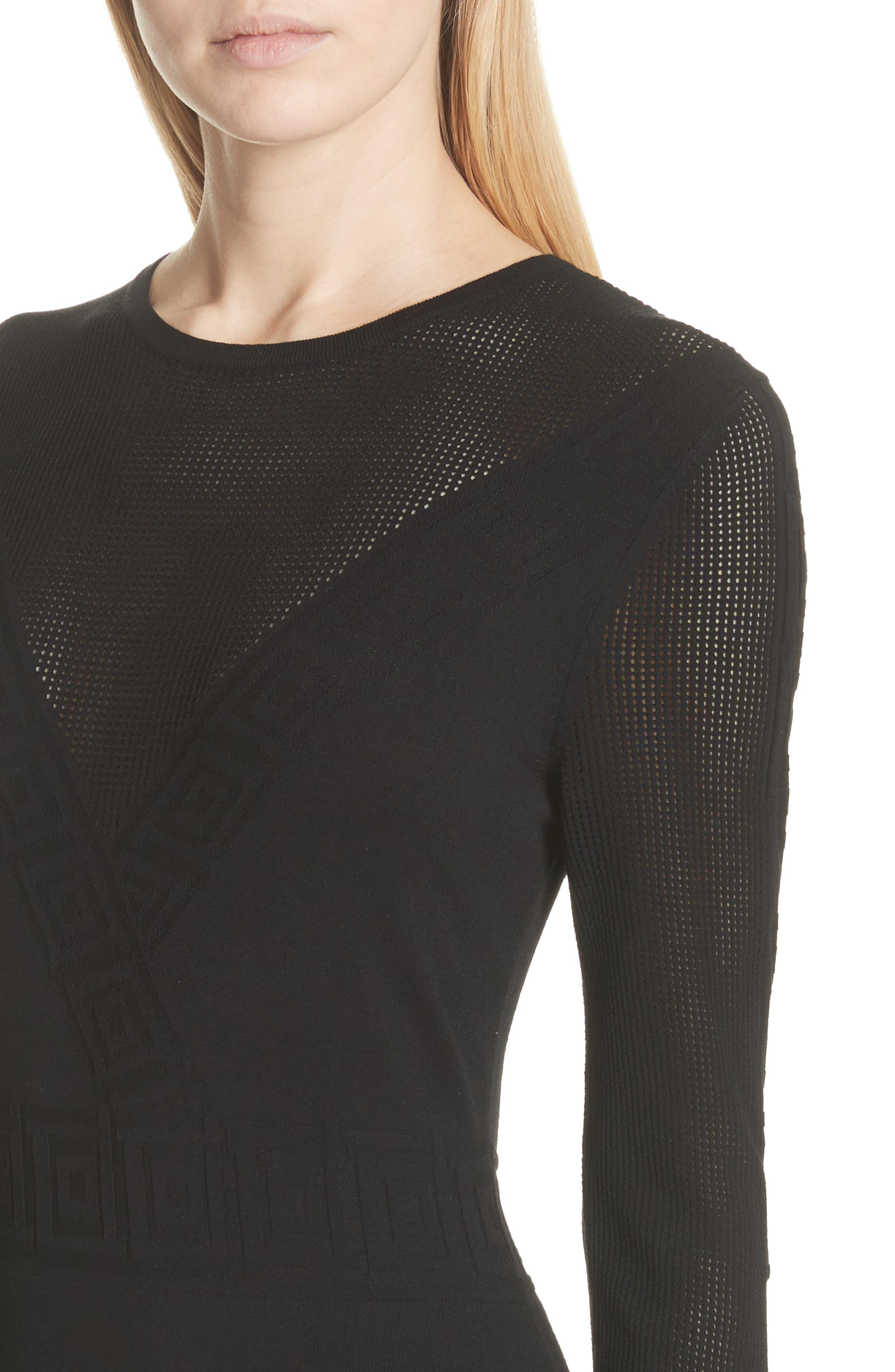 Sheer Detail Knit Dress,                             Alternate thumbnail 4, color,                             001