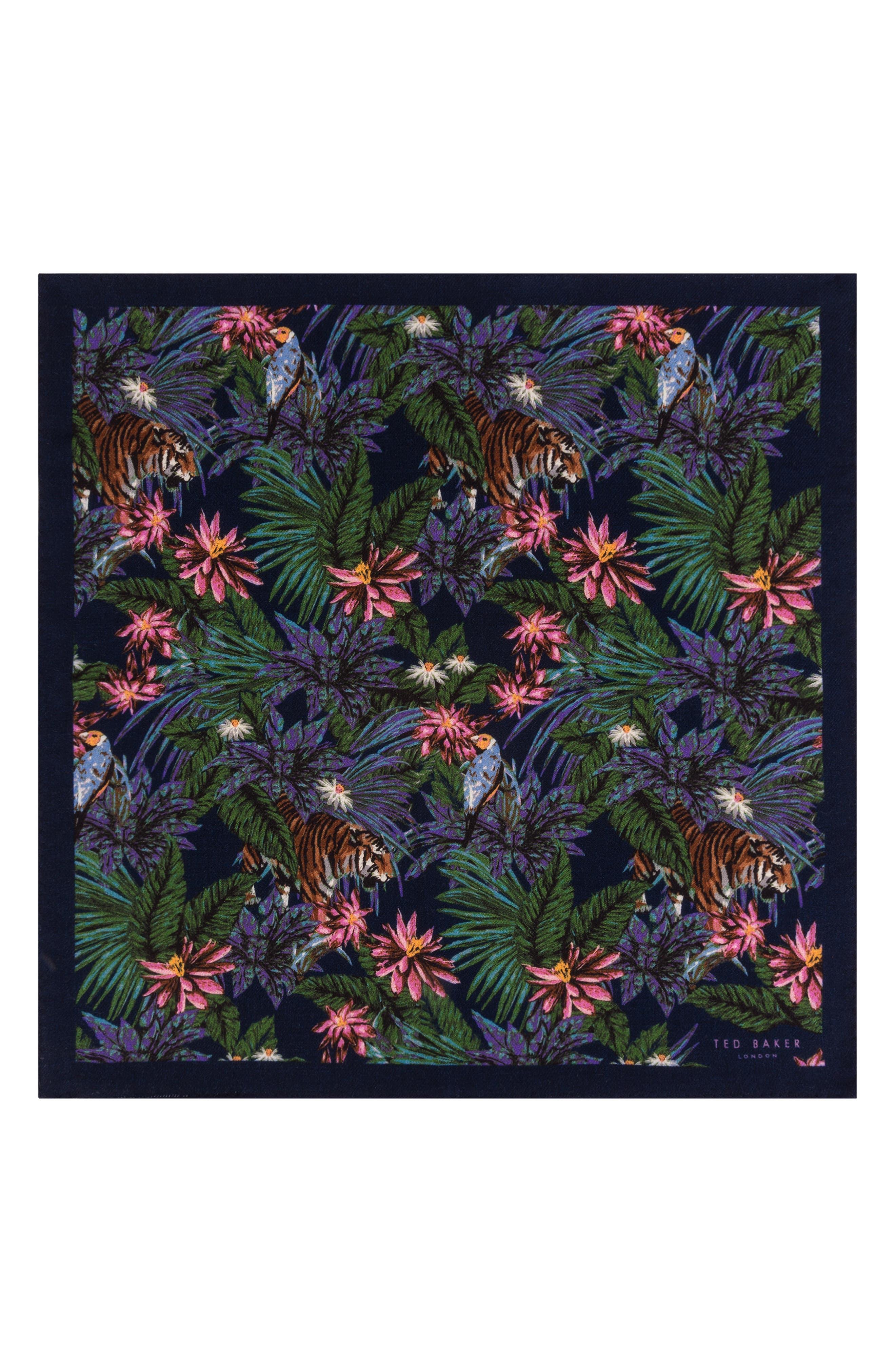 Jungle Print Wool Pocket Square,                             Alternate thumbnail 2, color,                             NAVY