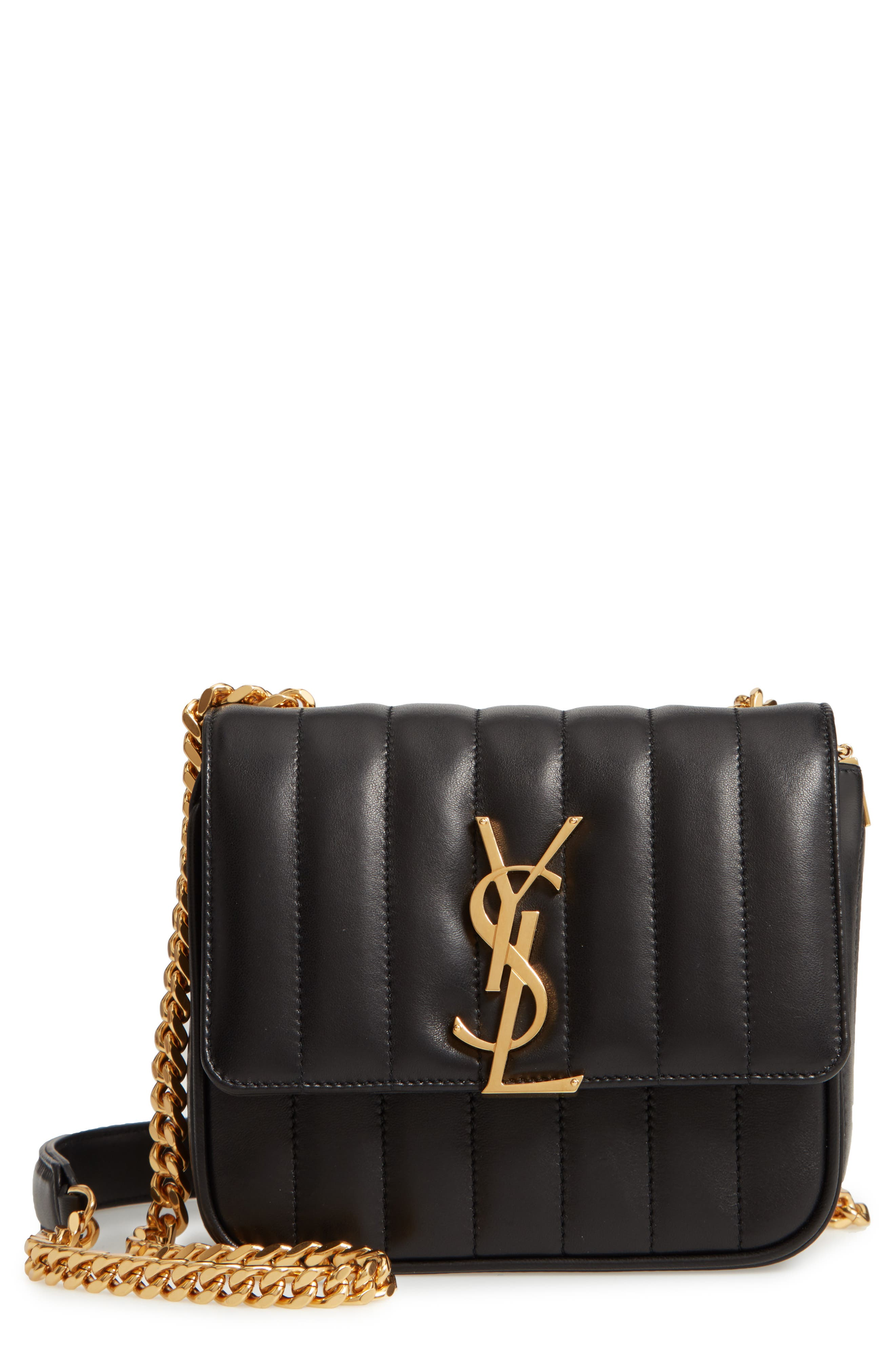 Small Vicky Quilted Lambskin Leather Crossbody Bag by Saint Laurent