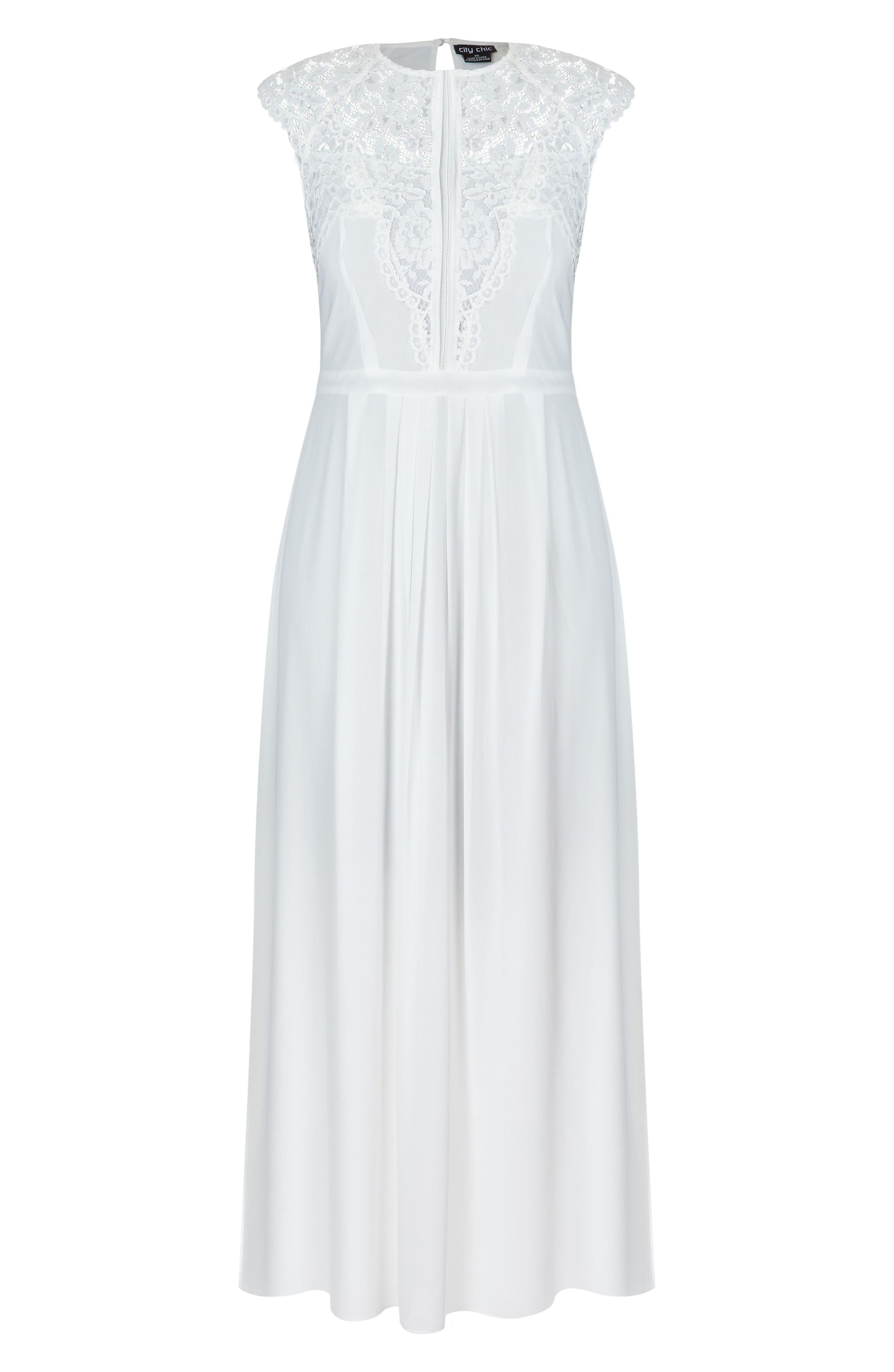 Lace Bodice Maxi Dress,                             Alternate thumbnail 3, color,                             WHITE