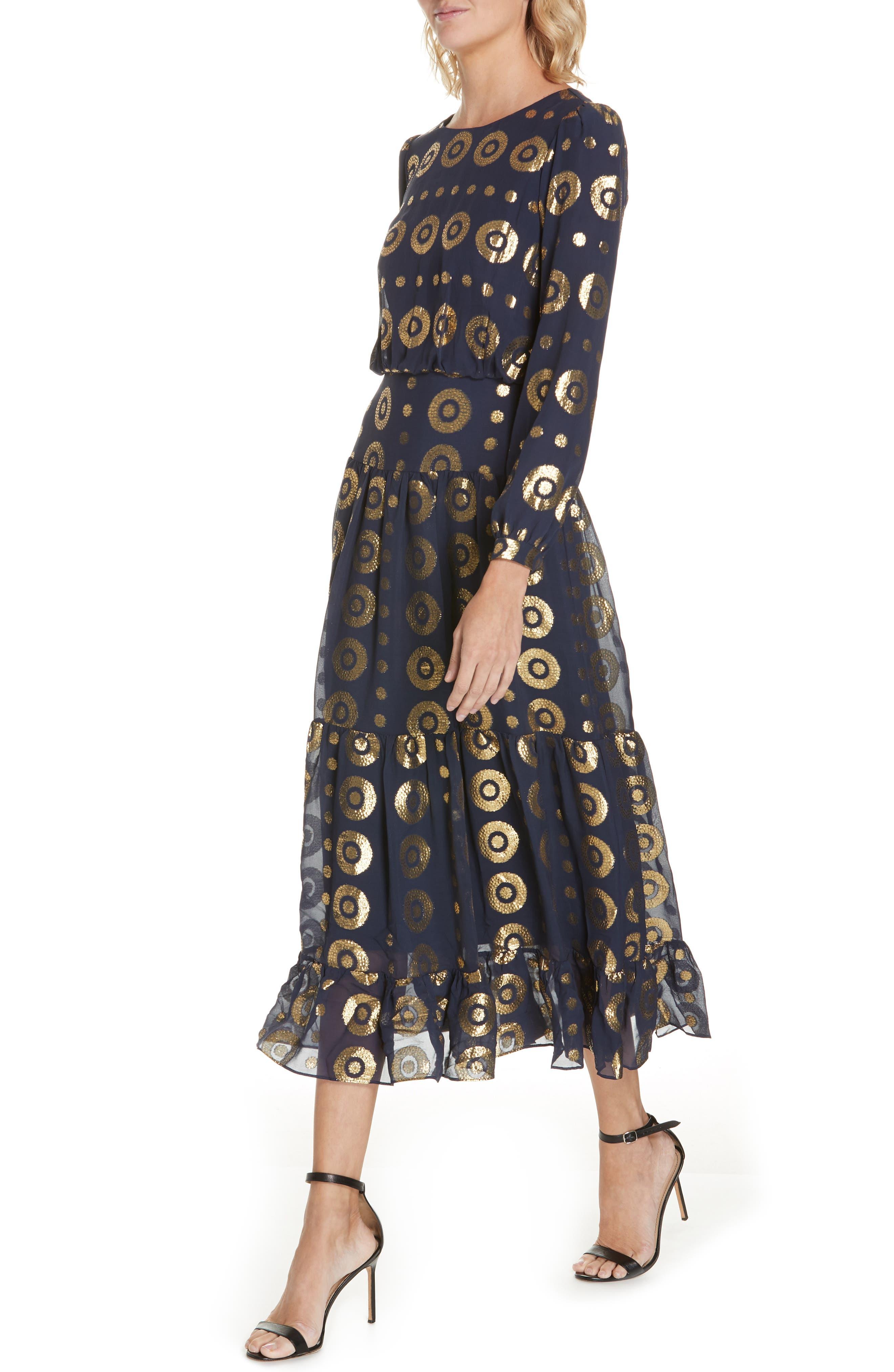 Isabel Fil Coupé Silk Blend Midi Dress,                             Alternate thumbnail 4, color,                             NAVY/ GOLD