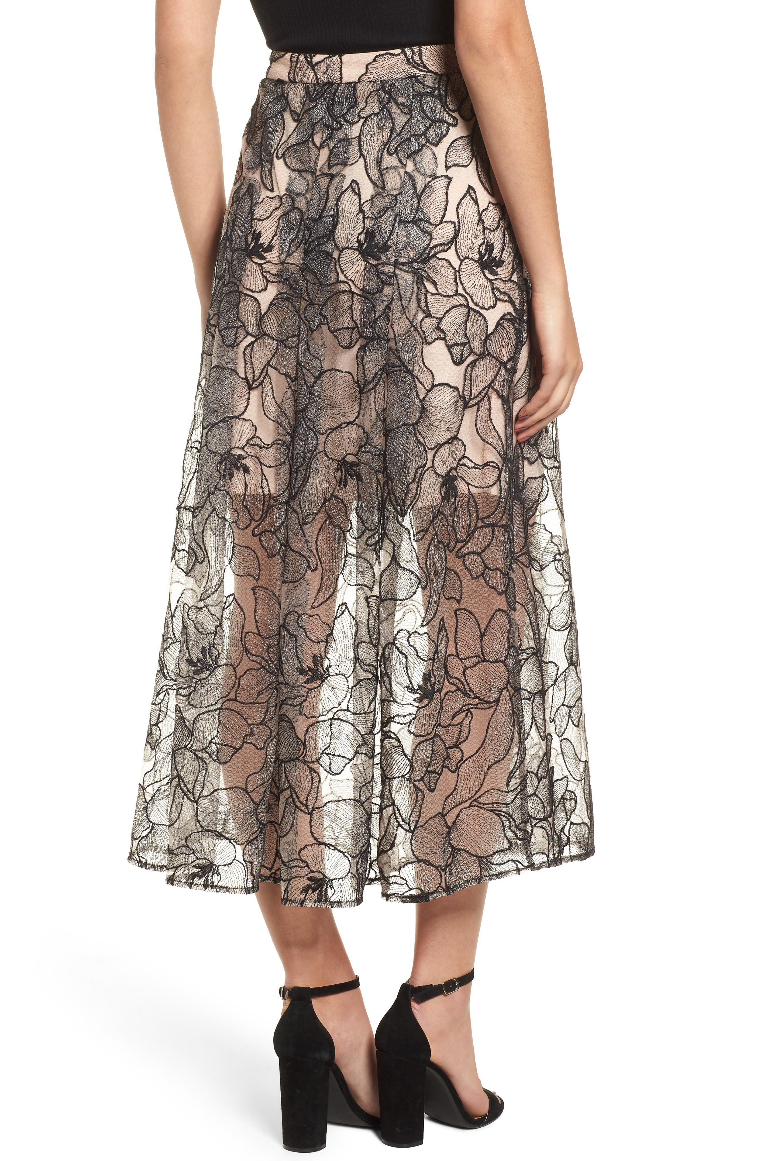 Pleated Lace Skirt,                             Alternate thumbnail 2, color,                             BLACK / NUDE EMBROIDERY