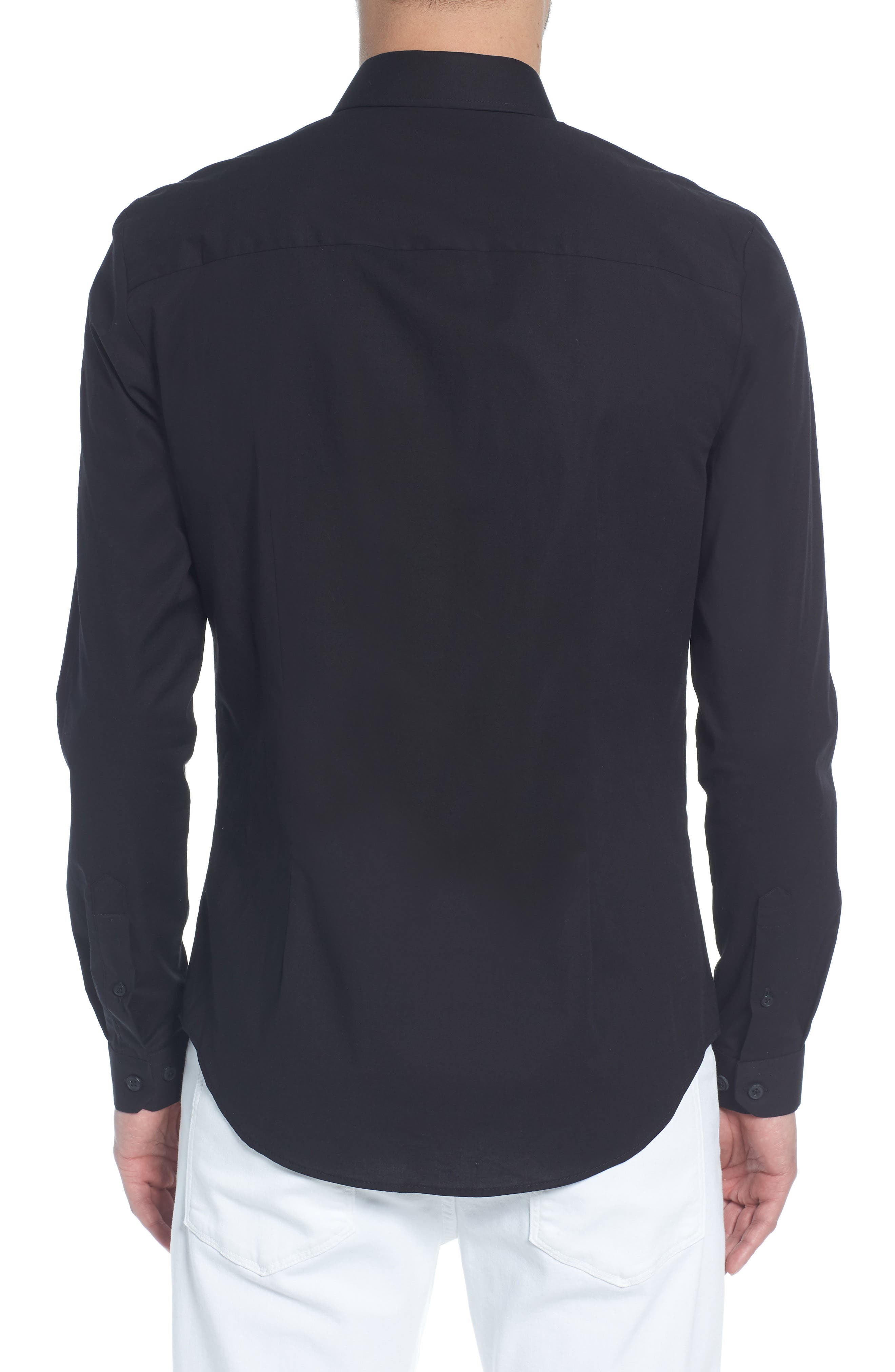 Stretch Skinny Fit Shirt,                             Alternate thumbnail 2, color,                             BLACK