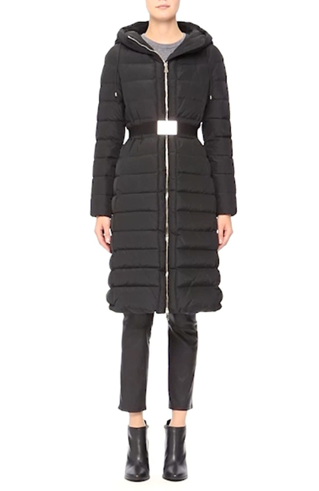 'Imin' Water Resistant Belted Down Puffer Coat,                             Alternate thumbnail 2, color,                             001