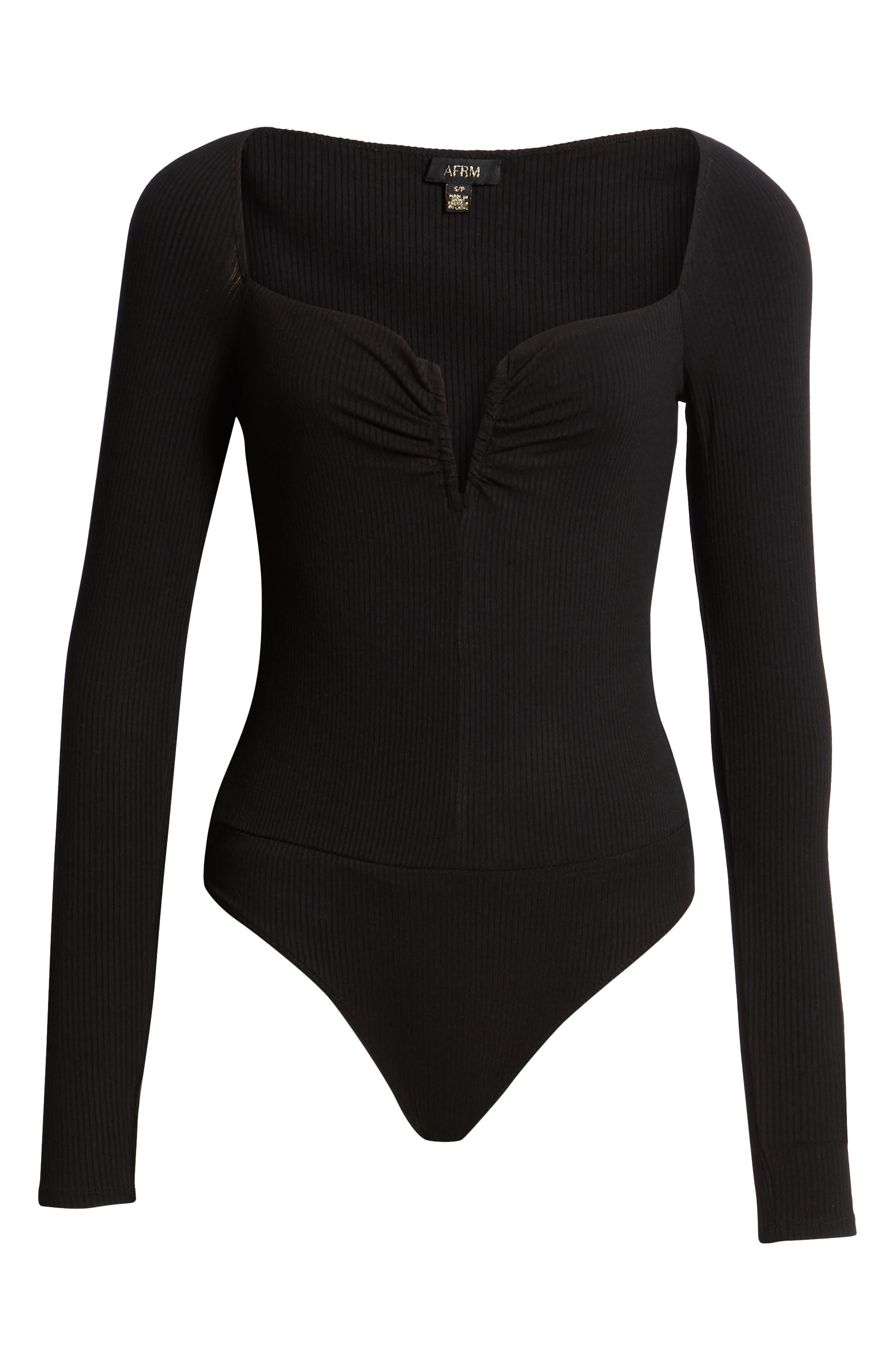 AFRM,                             Brigitte Long Sleeve Ribbed Bodysuit,                             Alternate thumbnail 6, color,                             NOIR