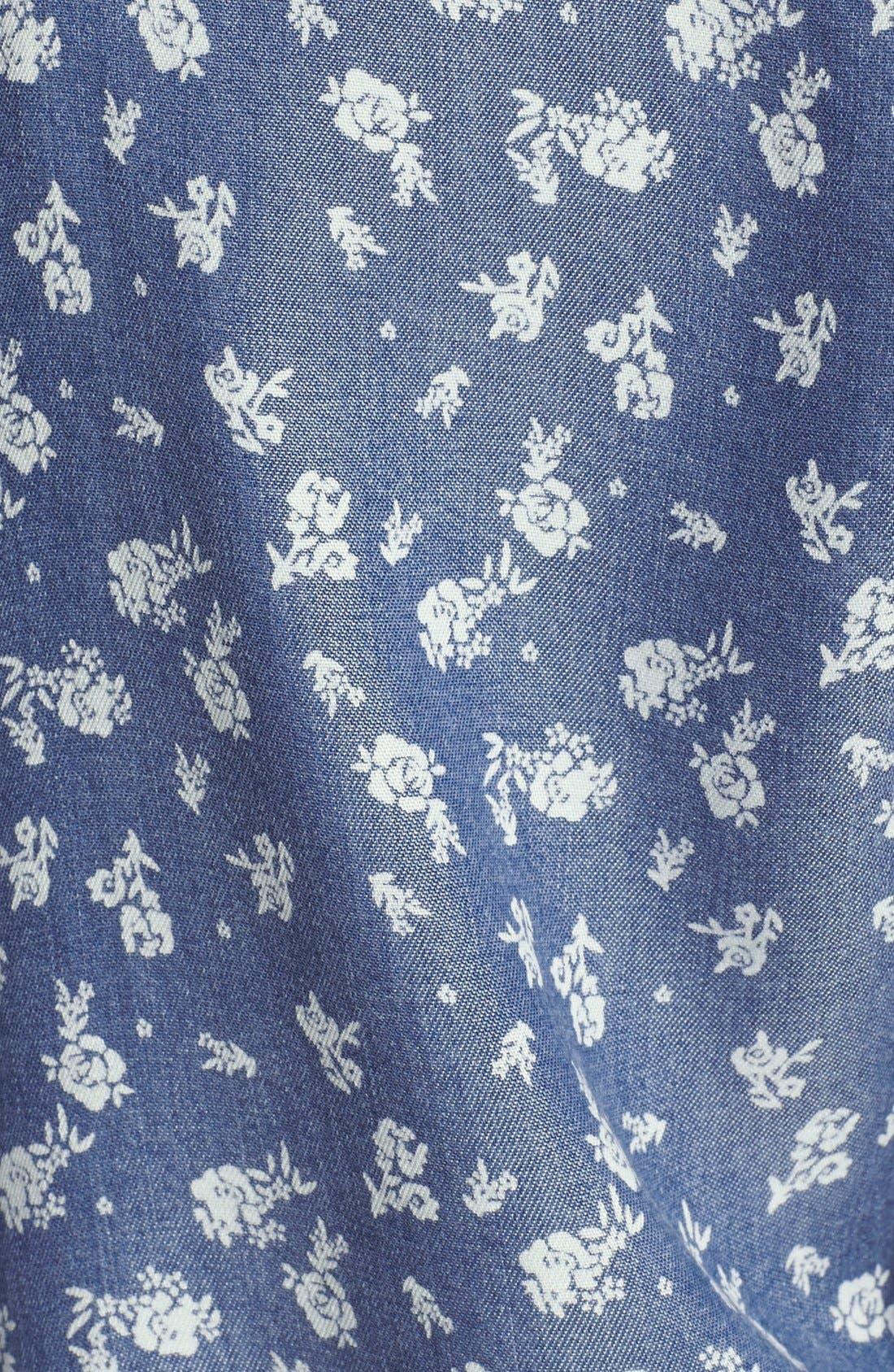 Floral Print Chambray Shirtdress,                             Alternate thumbnail 3, color,                             439
