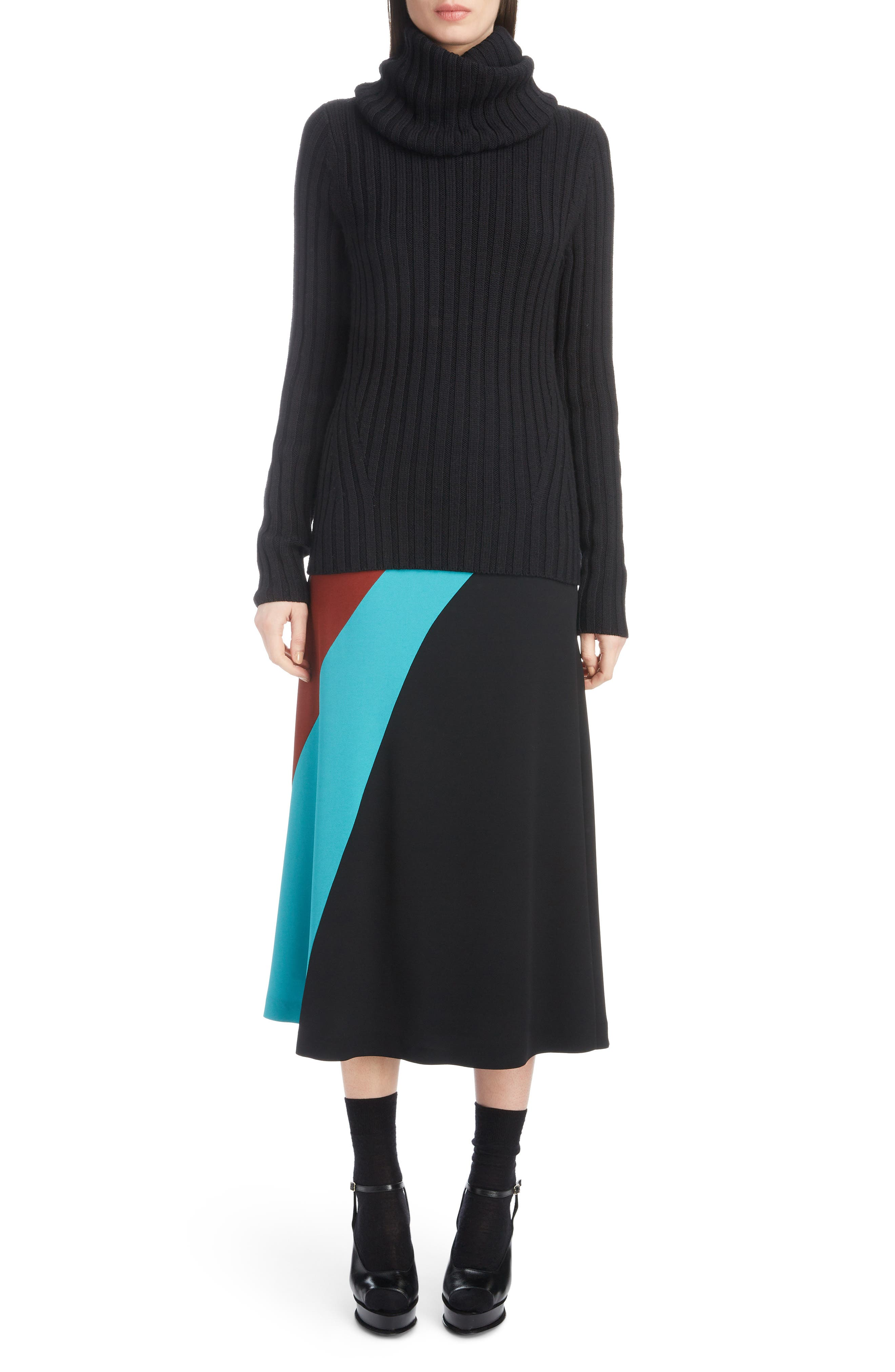 DRIES VAN NOTEN,                             Turtleneck Wool Sweater,                             Alternate thumbnail 6, color,                             BLACK