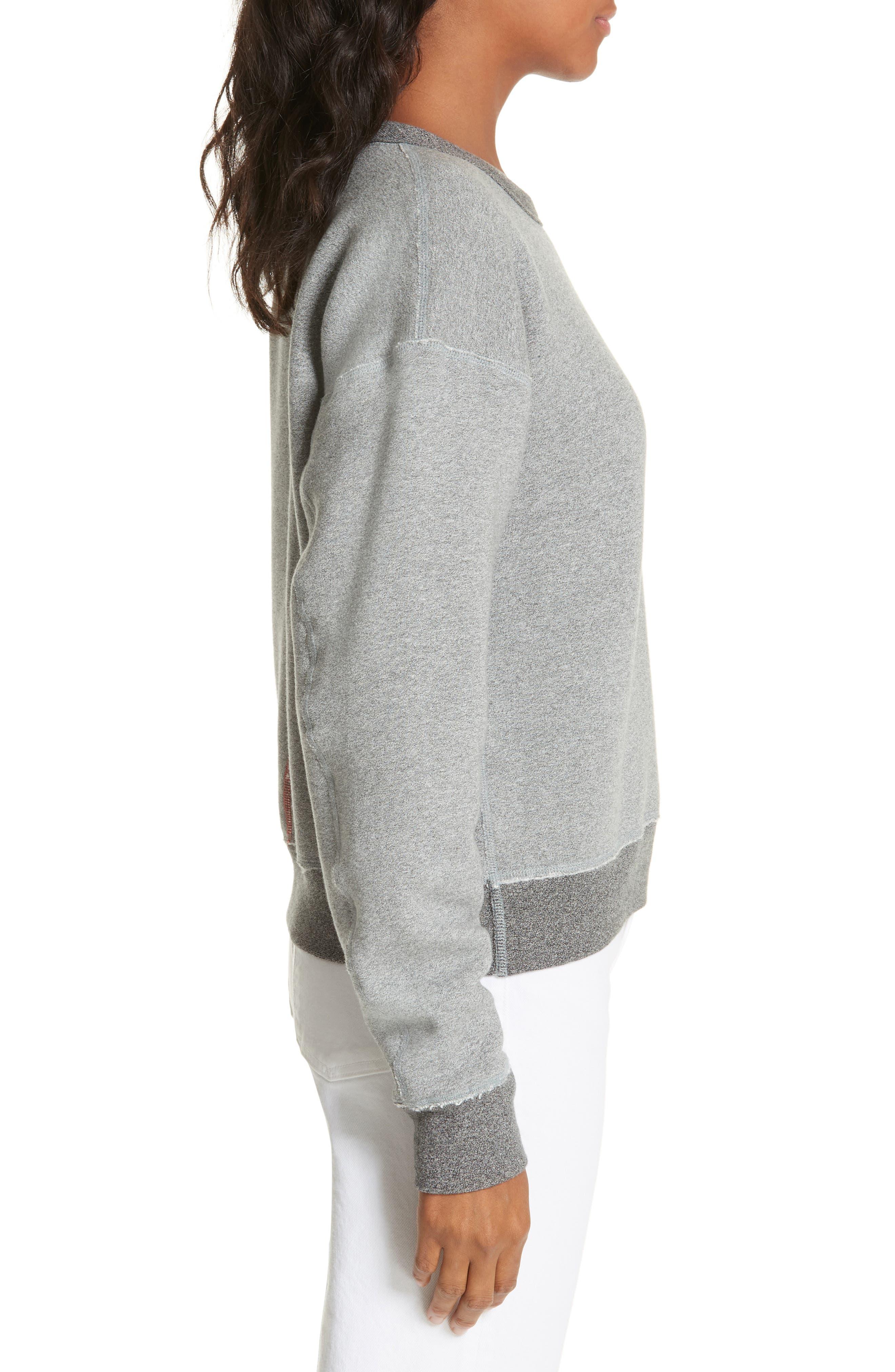 rag & bone Best Sweatshirt,                             Alternate thumbnail 3, color,                             HEATHER GREY