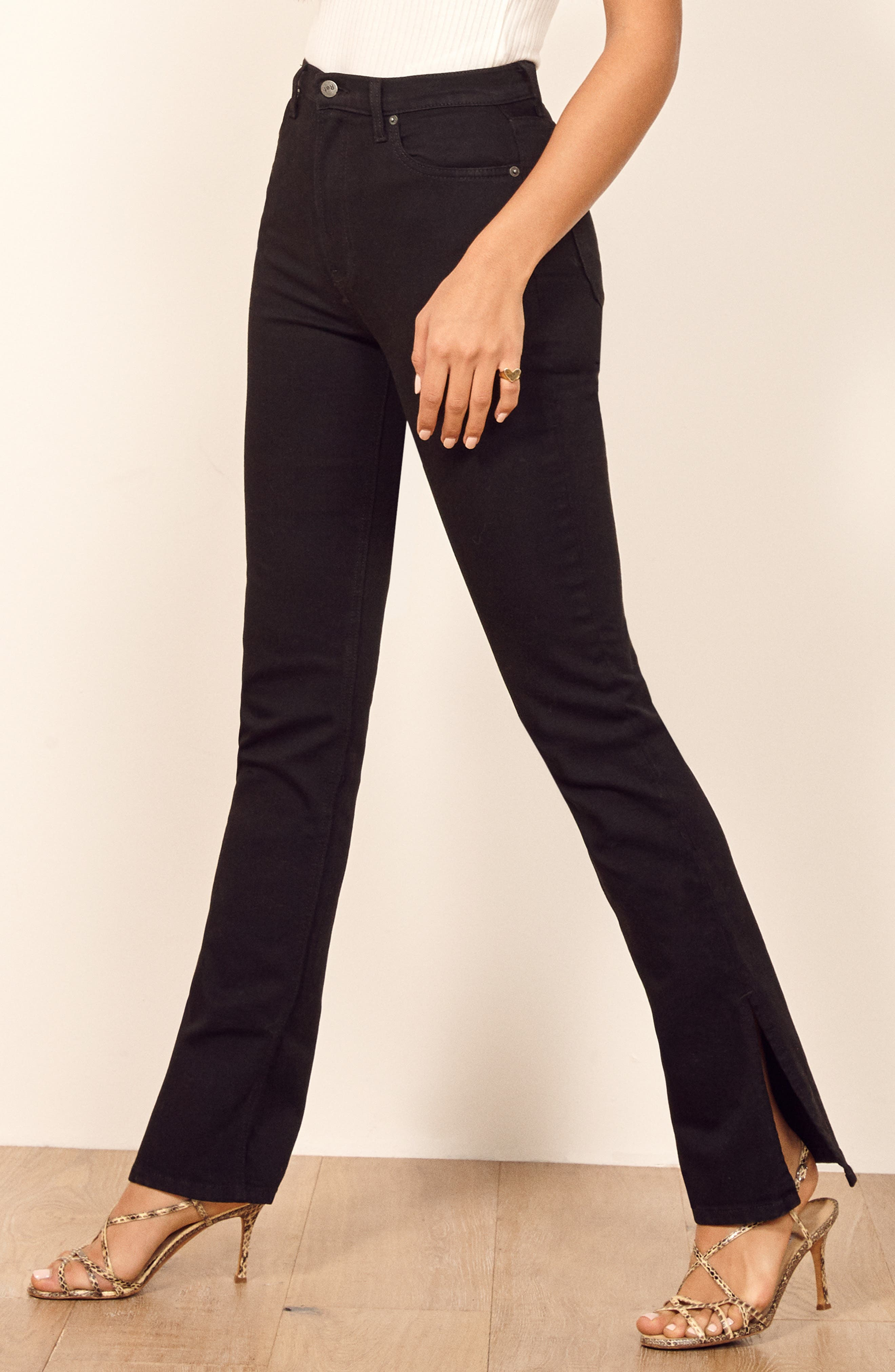 Perri Flare Jeans,                             Alternate thumbnail 4, color,                             BLACK