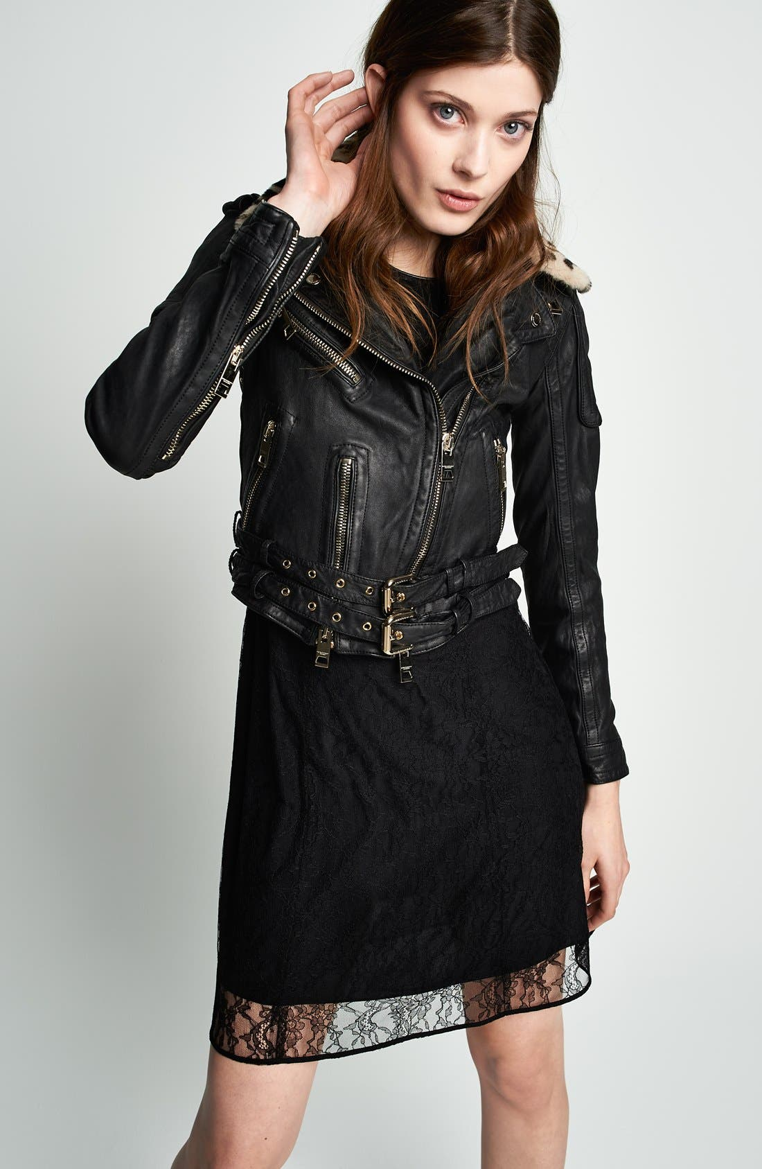 Leather Biker Jacket with Removable Genuine Shearling Collar,                             Alternate thumbnail 5, color,                             001