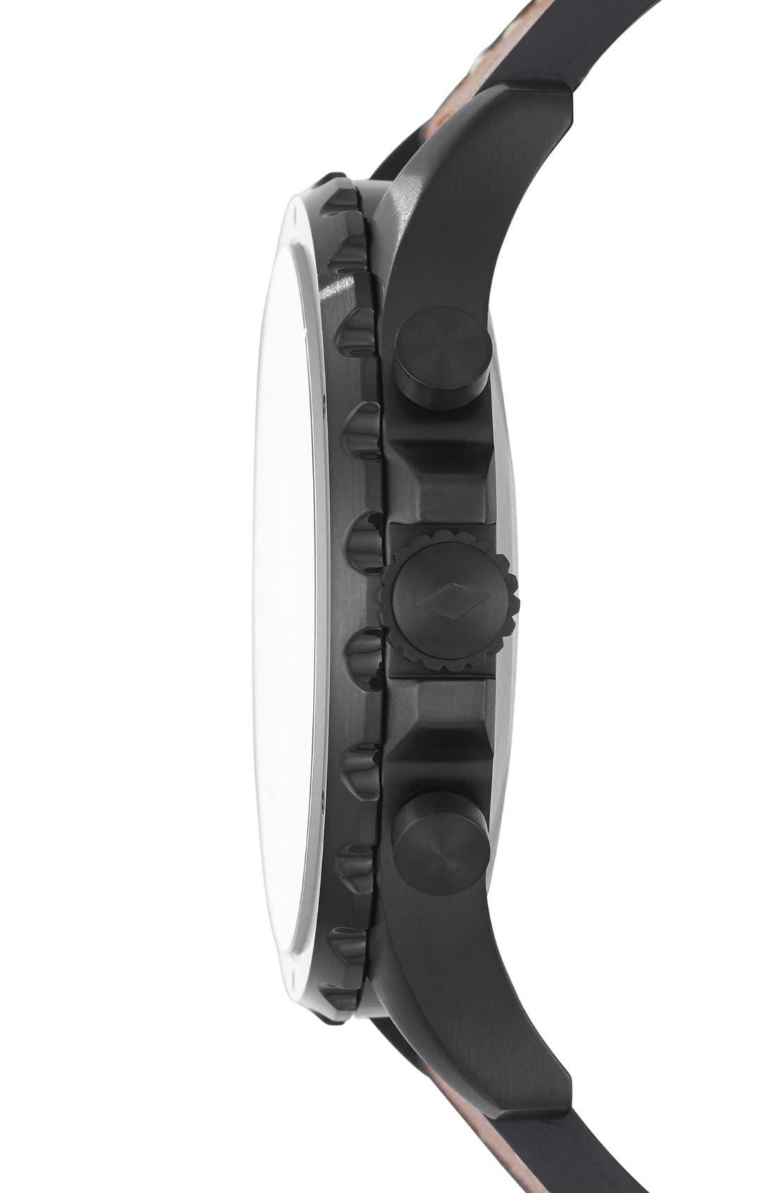 Nate Leather Strap Hybrid Smart Watch, 50mm,                             Alternate thumbnail 6, color,                             BROWN/ BLACK
