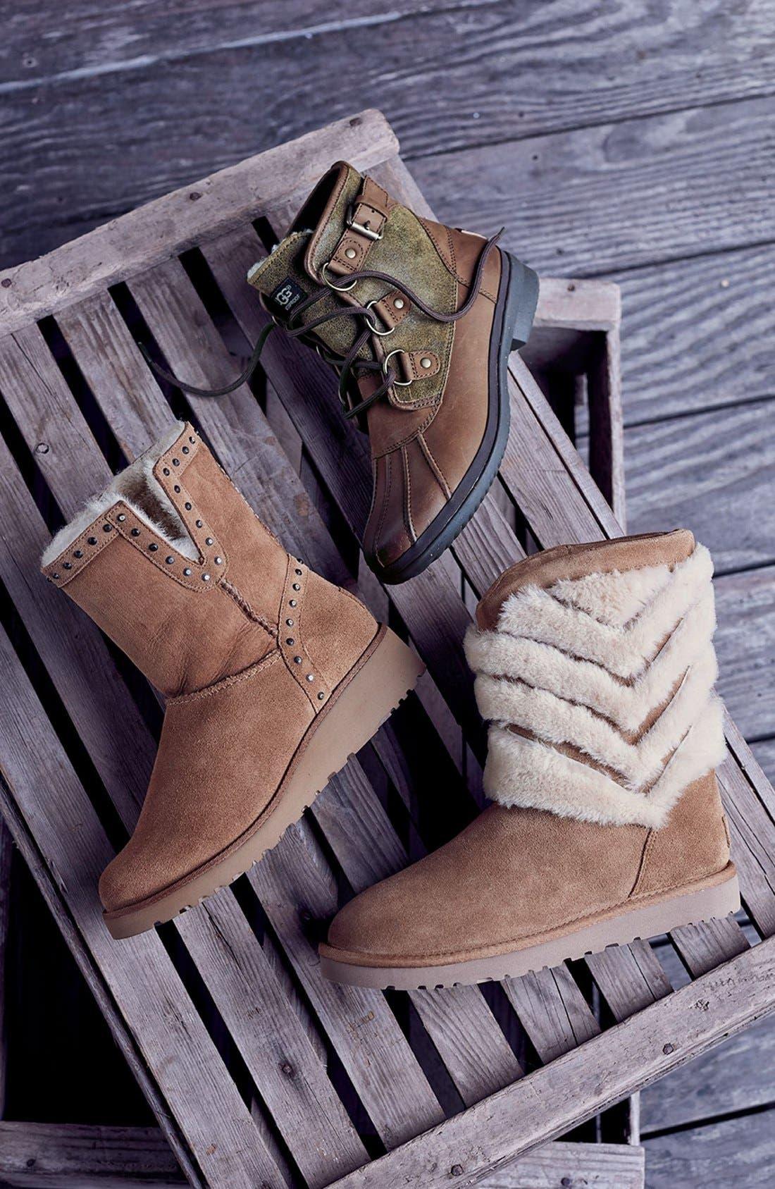 UGG<SUP>®</SUP>,                             Tania Genuine Shearling Boot,                             Alternate thumbnail 6, color,                             001