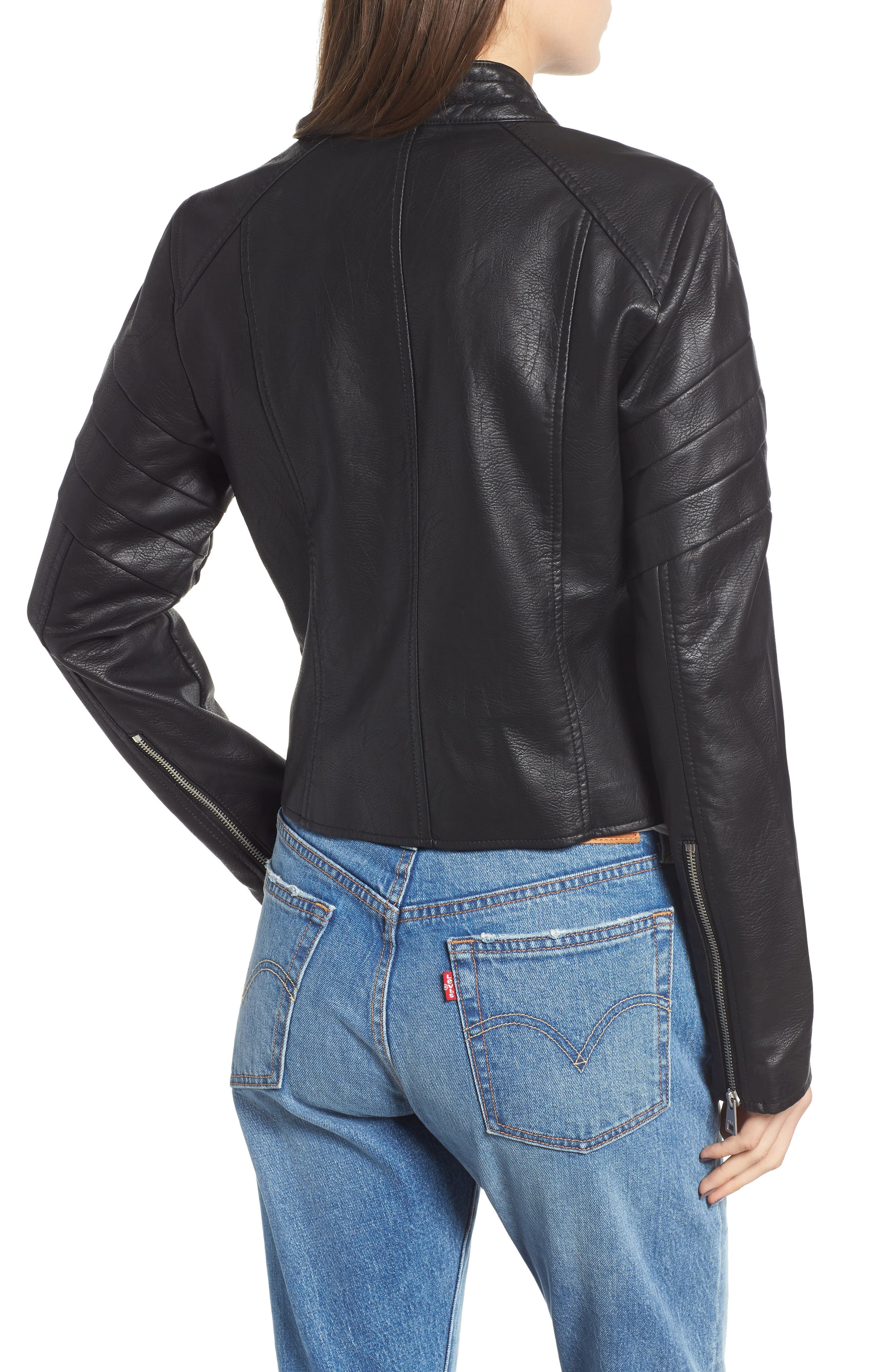 Faux Leather Moto Jacket,                             Alternate thumbnail 2, color,                             BLACK