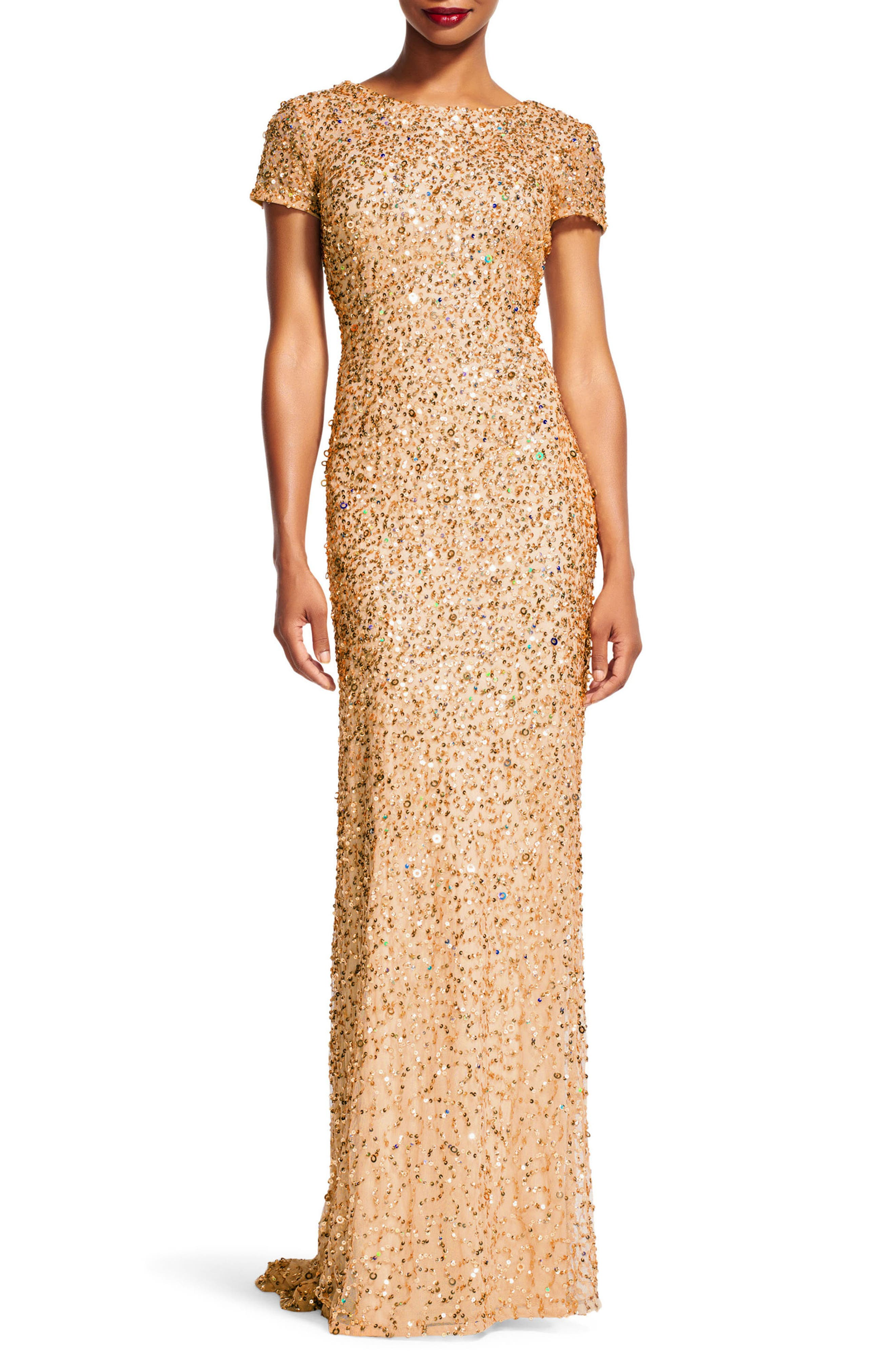 Short Sleeve Sequin Mesh Gown,                             Main thumbnail 1, color,                             CHAMPAGNE/ GOLD