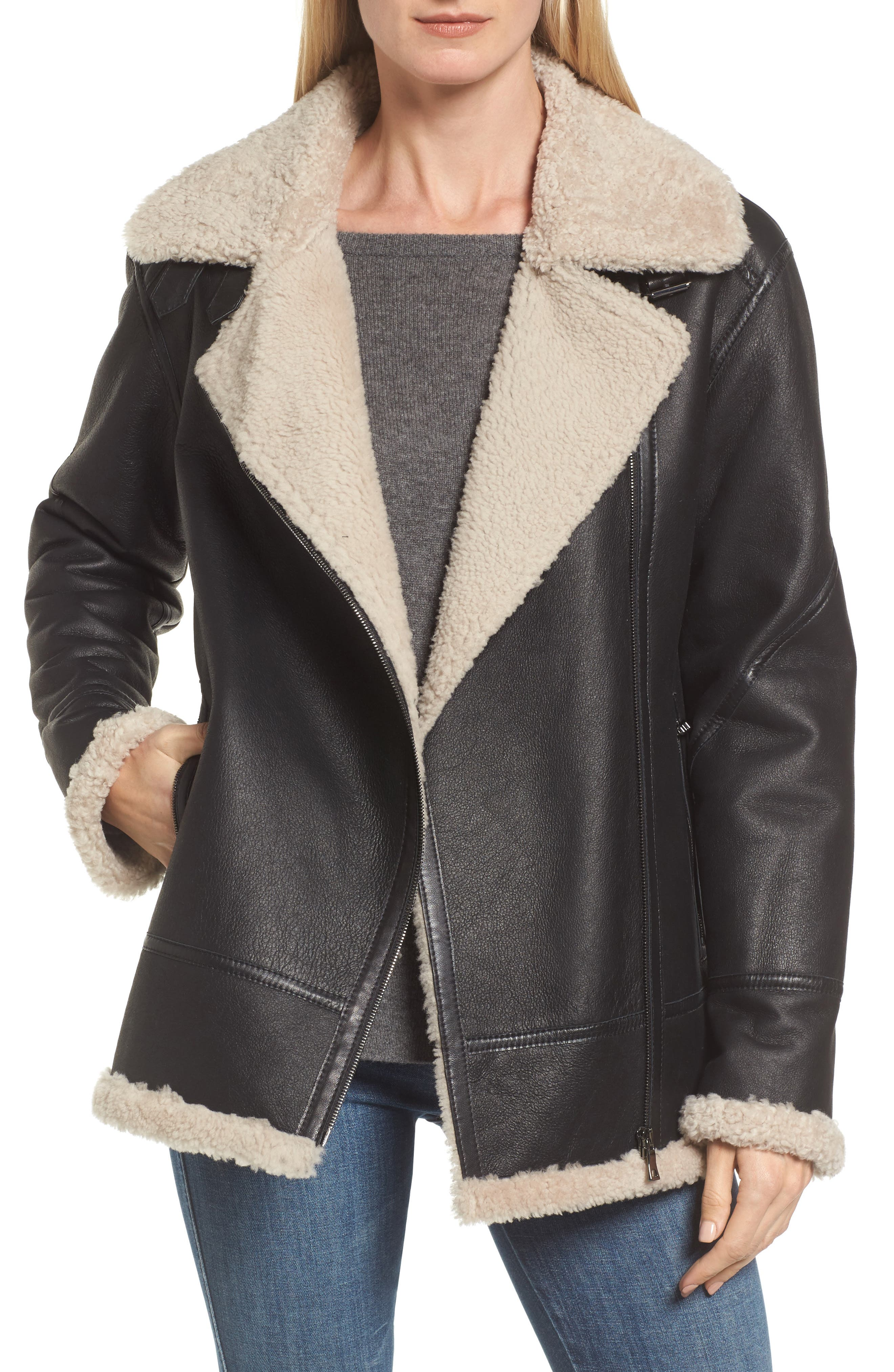 Genuine Shearling Aviator Jacket,                         Main,                         color, 001