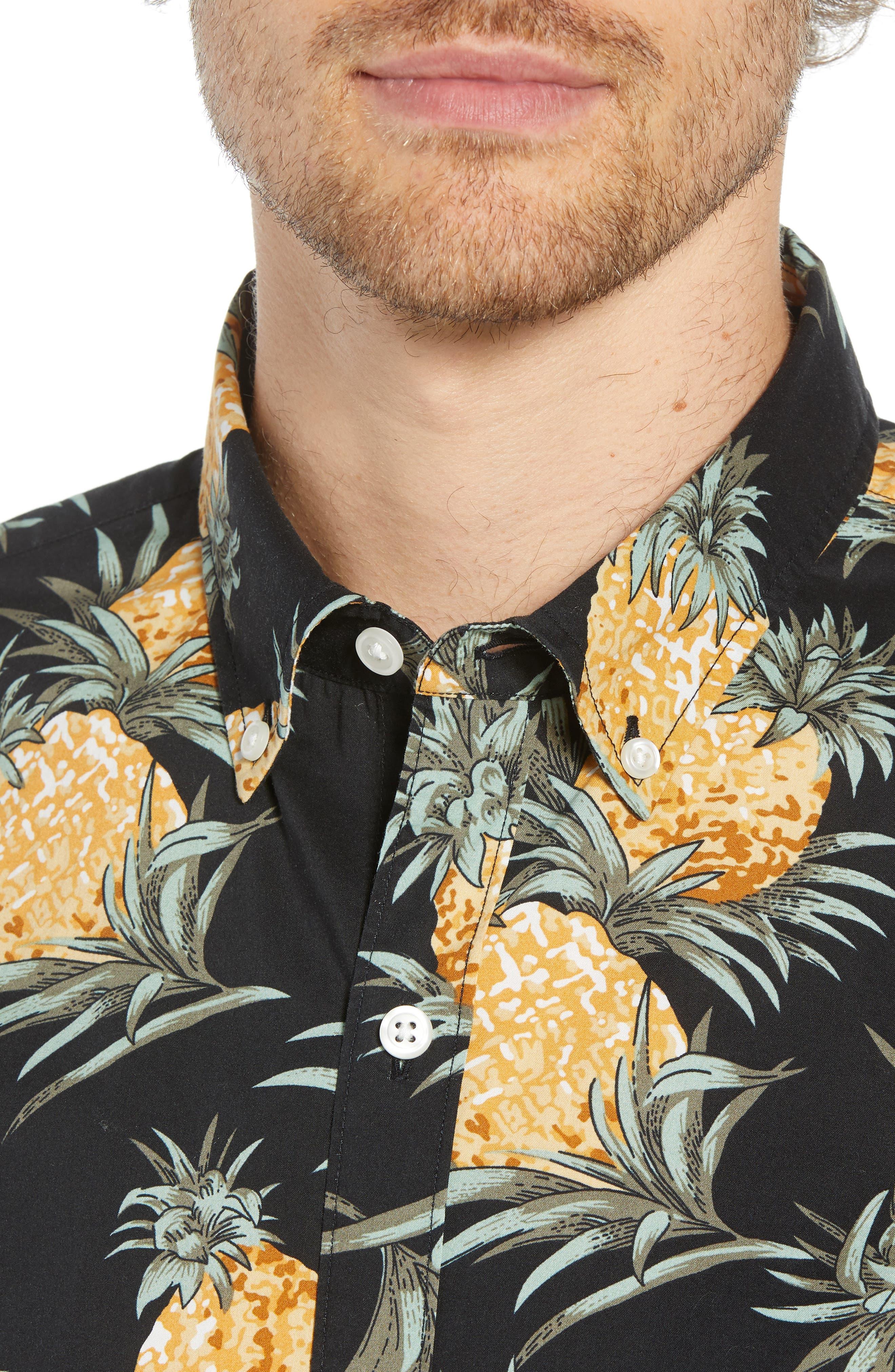 Summerweight Slim Fit Pineapple Print Sport Shirt,                             Alternate thumbnail 2, color,                             PINEAPPLES - JET BLACK