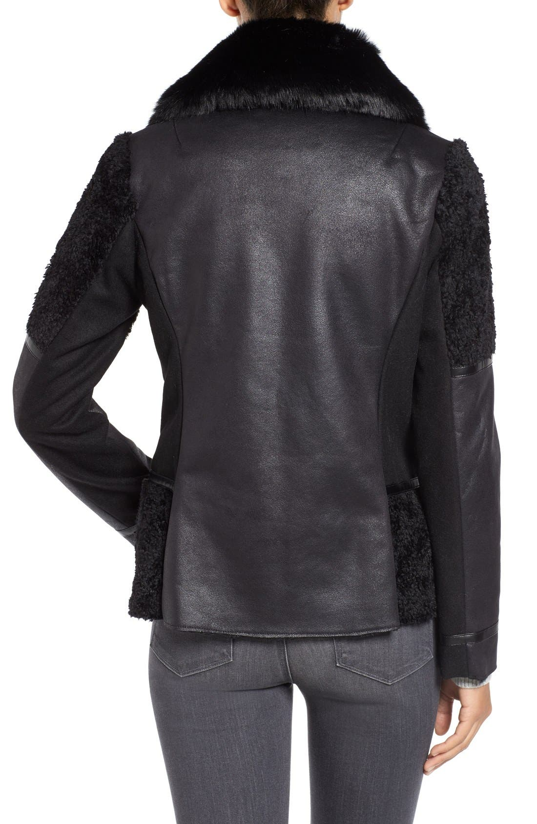 Mixed Media Faux Shearling Moto Jacket,                             Alternate thumbnail 2, color,                             001