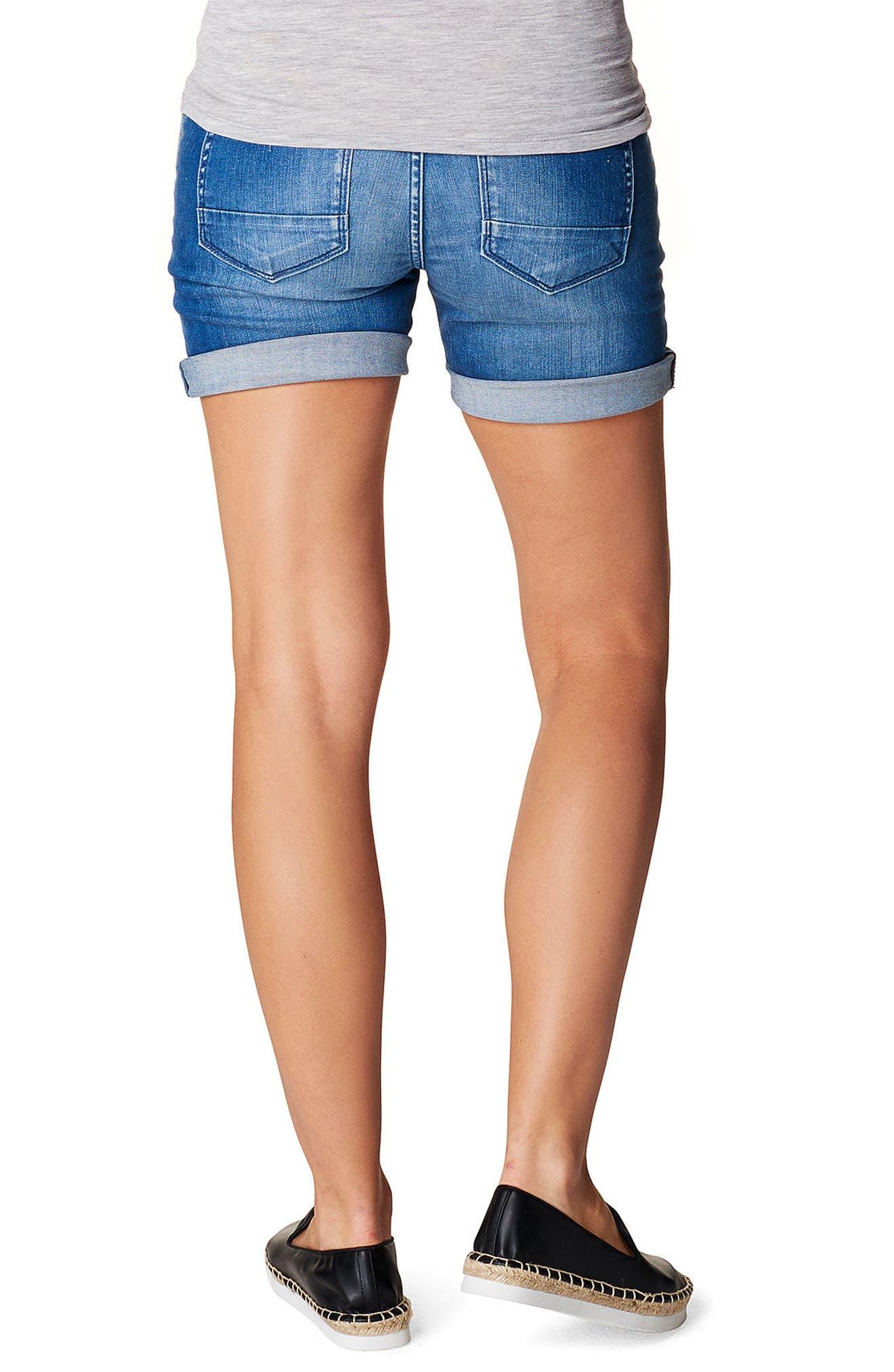 Zita Maternity Jean Shorts,                             Alternate thumbnail 2, color,                             MID BLUE