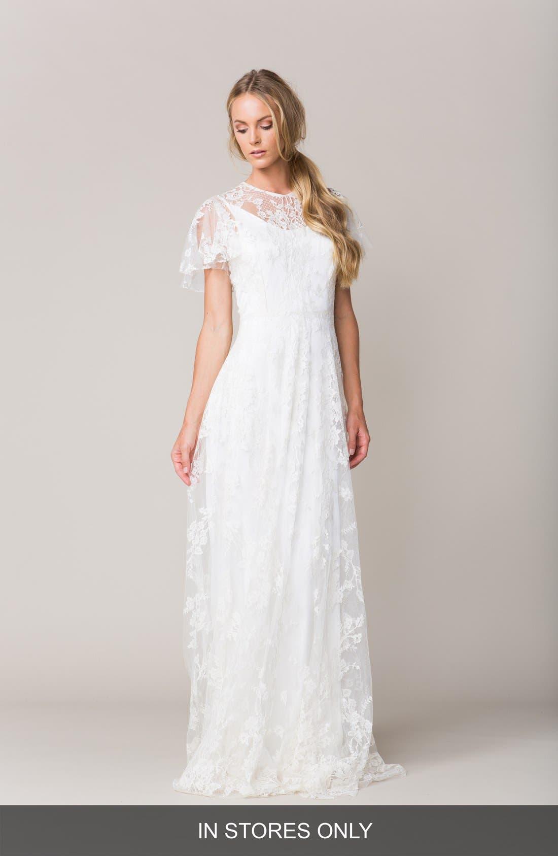Calais Flutter Sleeve Lace A-Line Gown,                         Main,                         color, 100