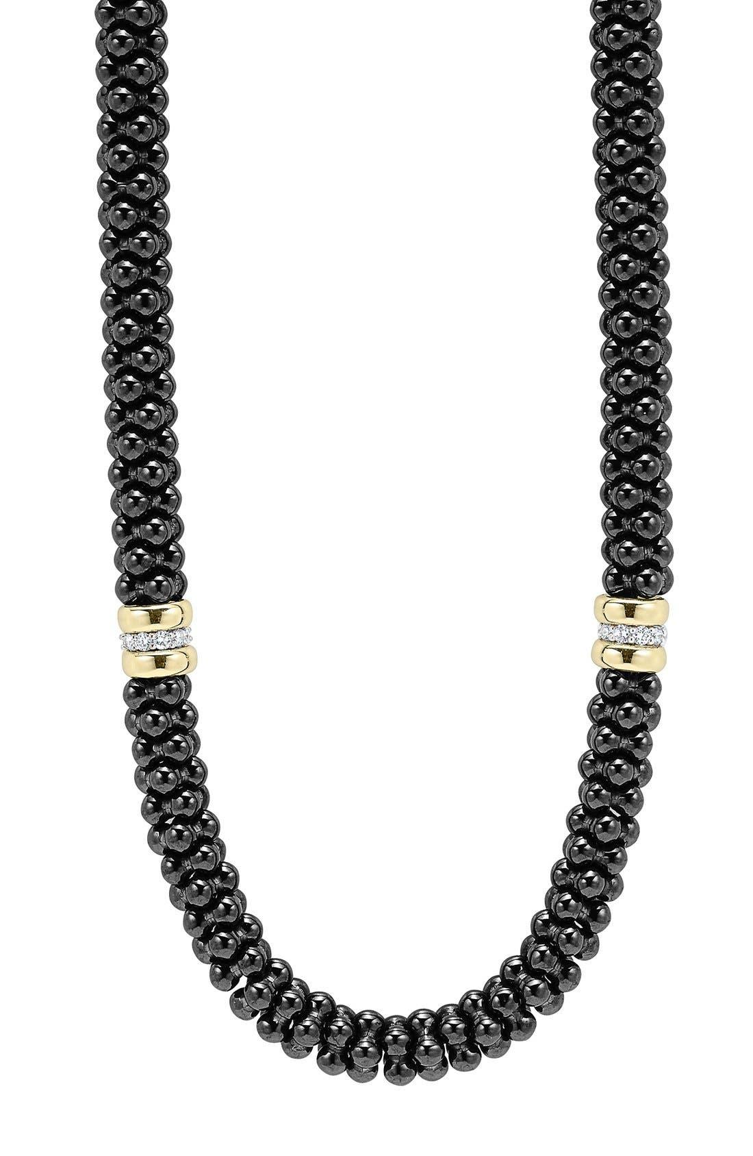 'Black Caviar' 7mm Beaded Diamond Station Necklace,                             Alternate thumbnail 3, color,                             BLACK CAVIAR/ GOLD