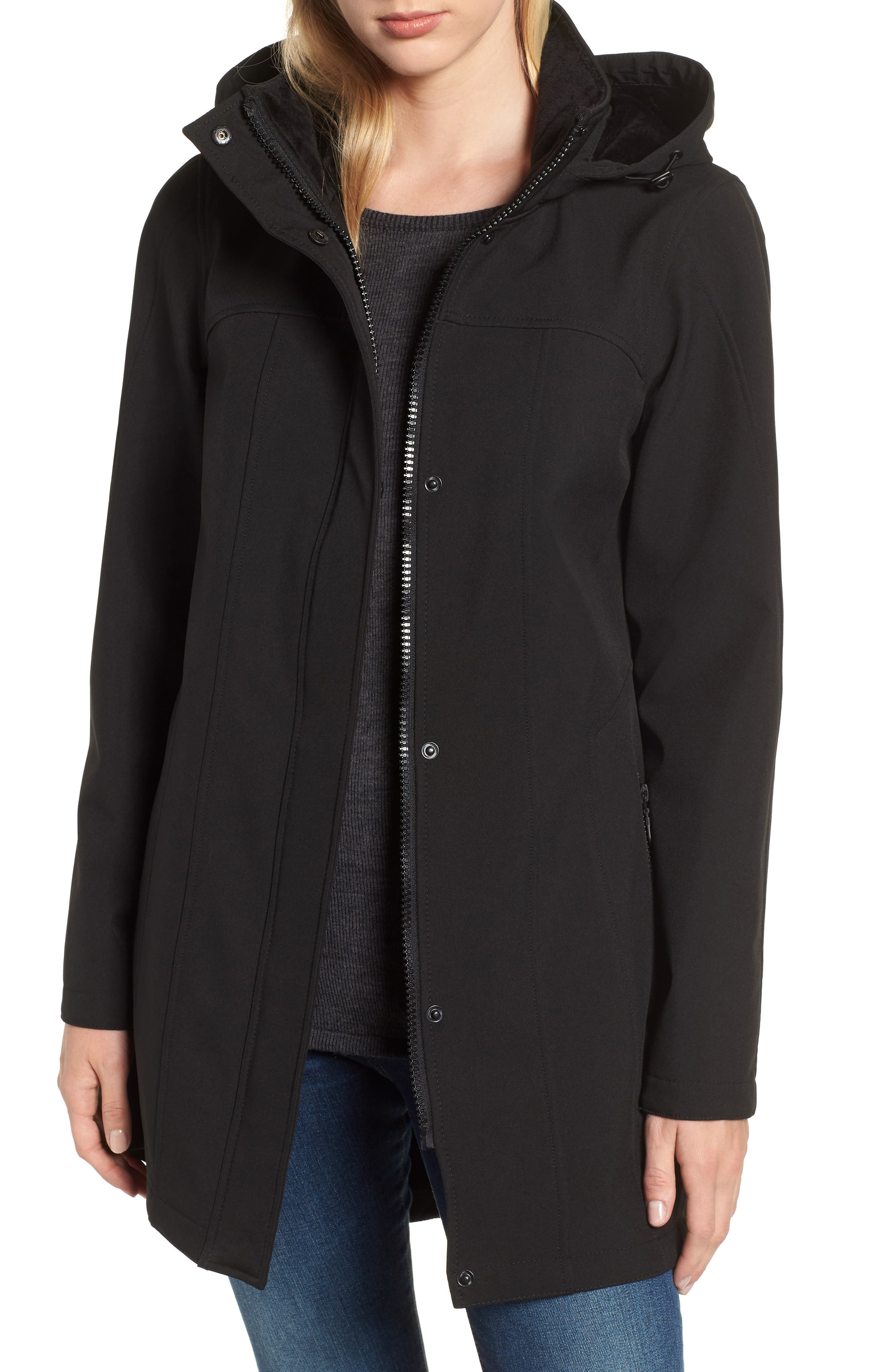 Hooded Soft Shell Jacket,                         Main,                         color, BLACK