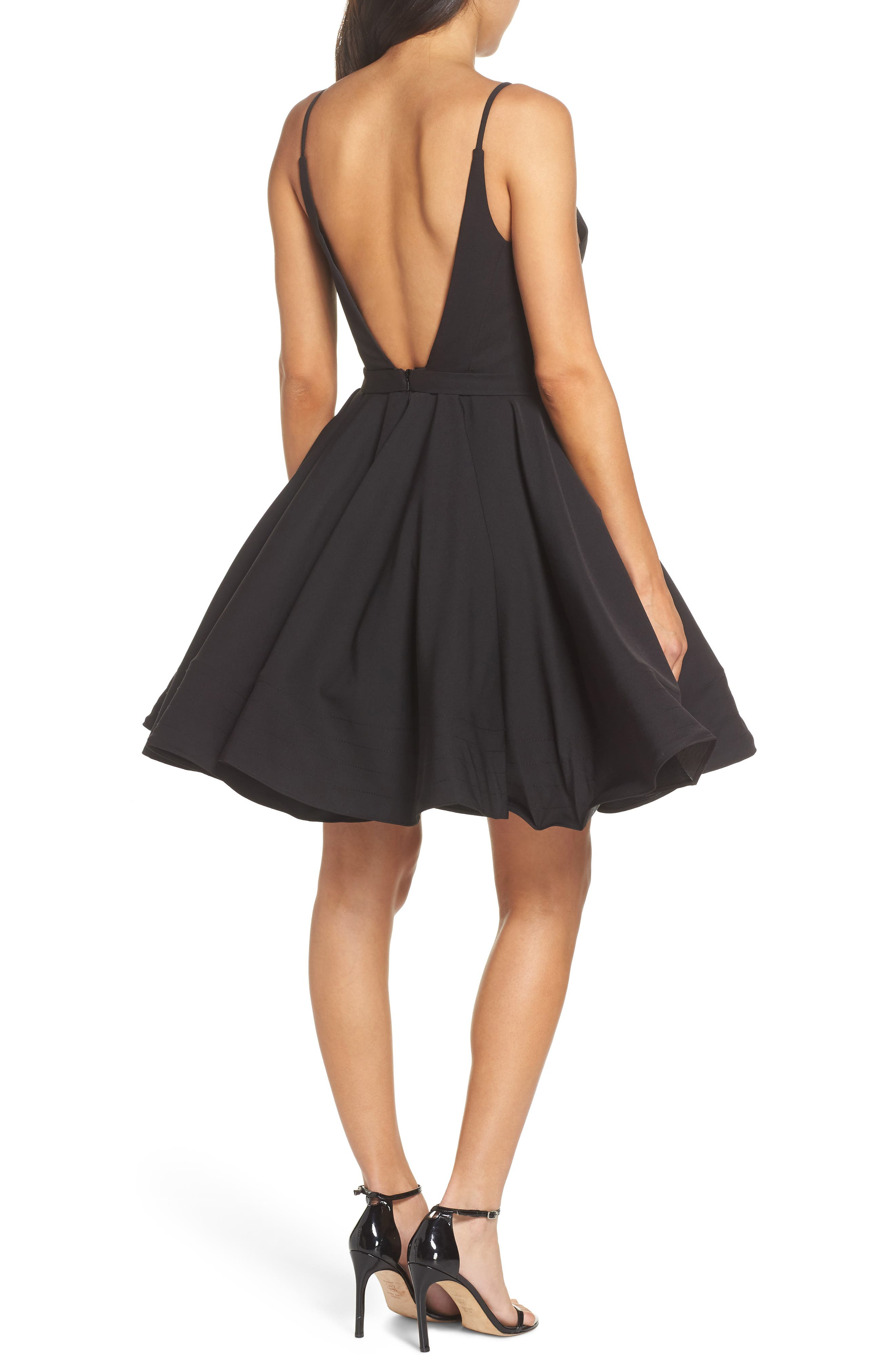 Fit & Flare Party Dress,                             Alternate thumbnail 2, color,                             BLACK