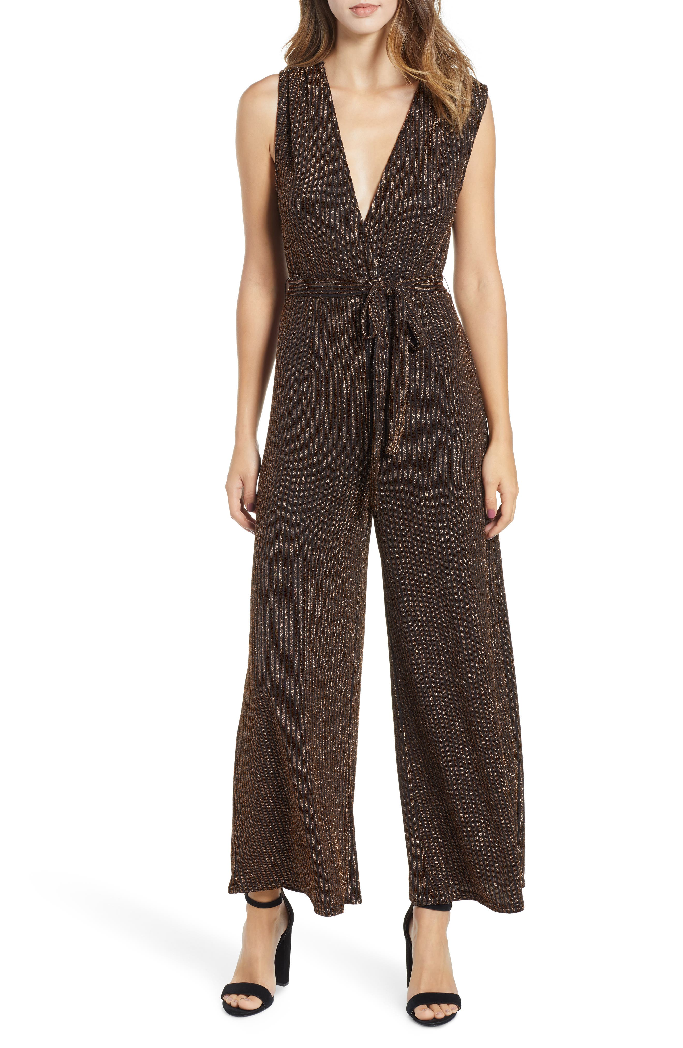 Lover Lover Metallic Jumpsuit,                             Main thumbnail 1, color,                             BLACK/ ROSE GOLD