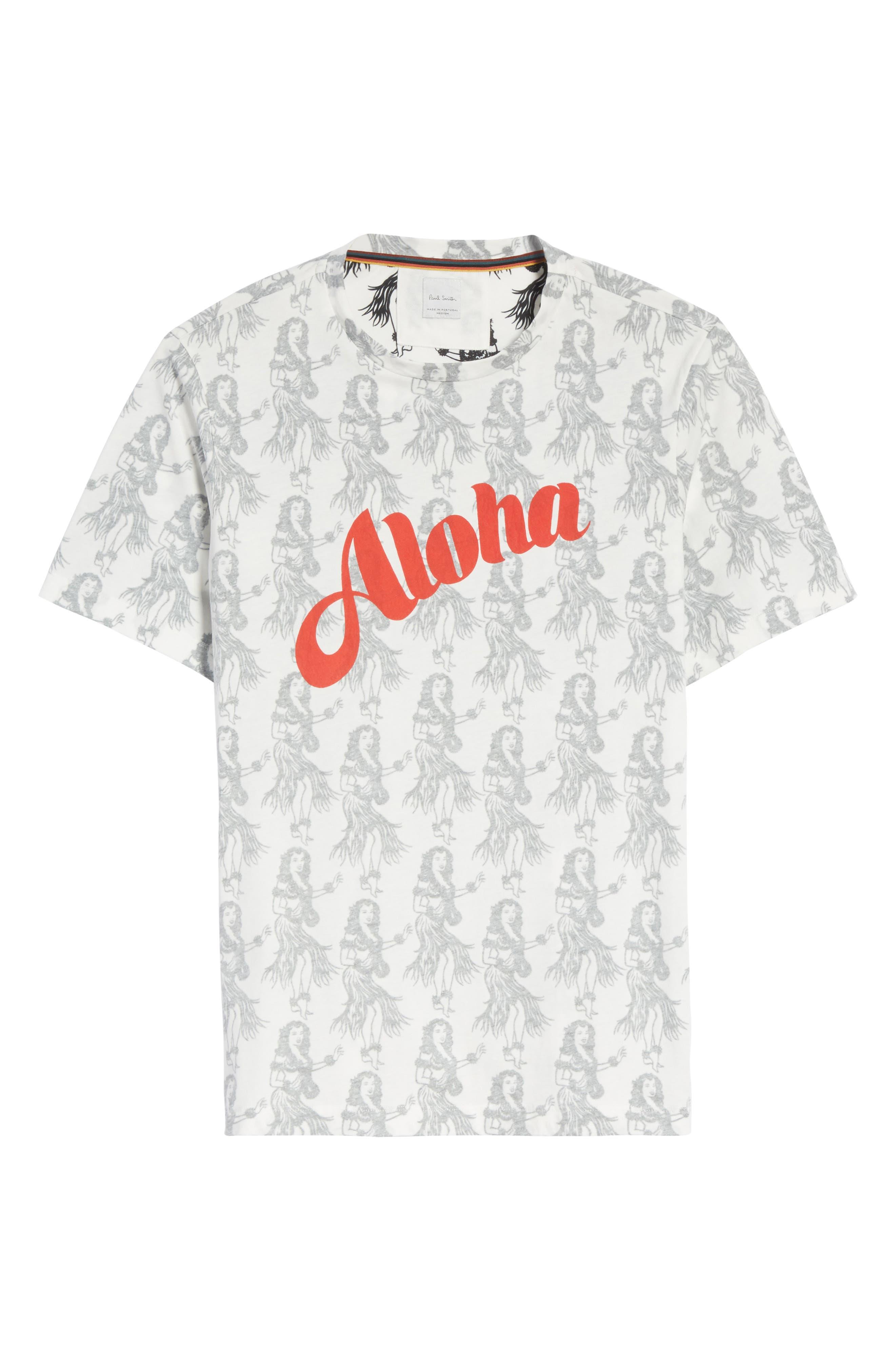 Aloha Print T-Shirt,                             Alternate thumbnail 6, color,