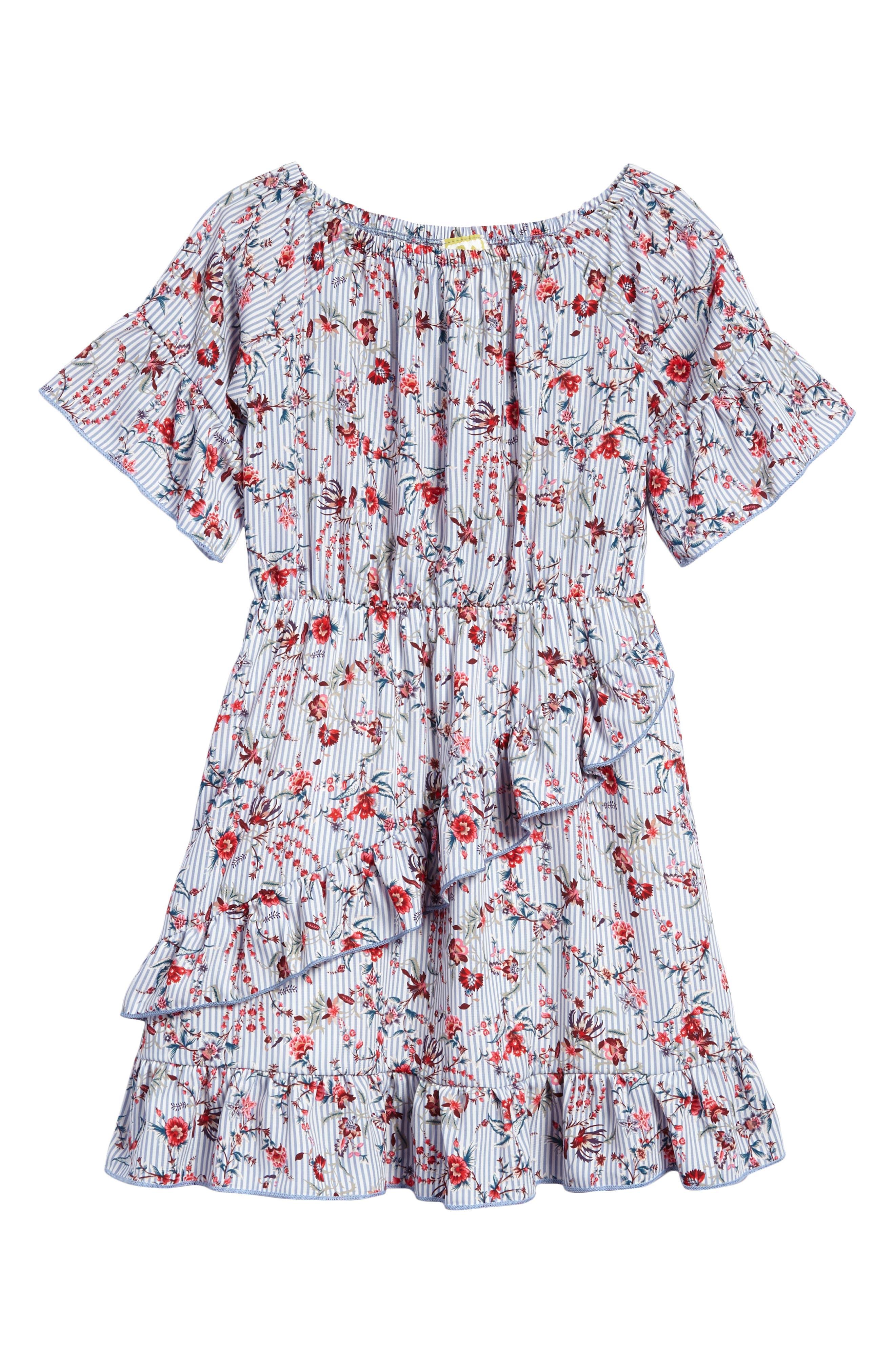 Printed Off the Shoulder Ruffle Dress,                             Main thumbnail 1, color,