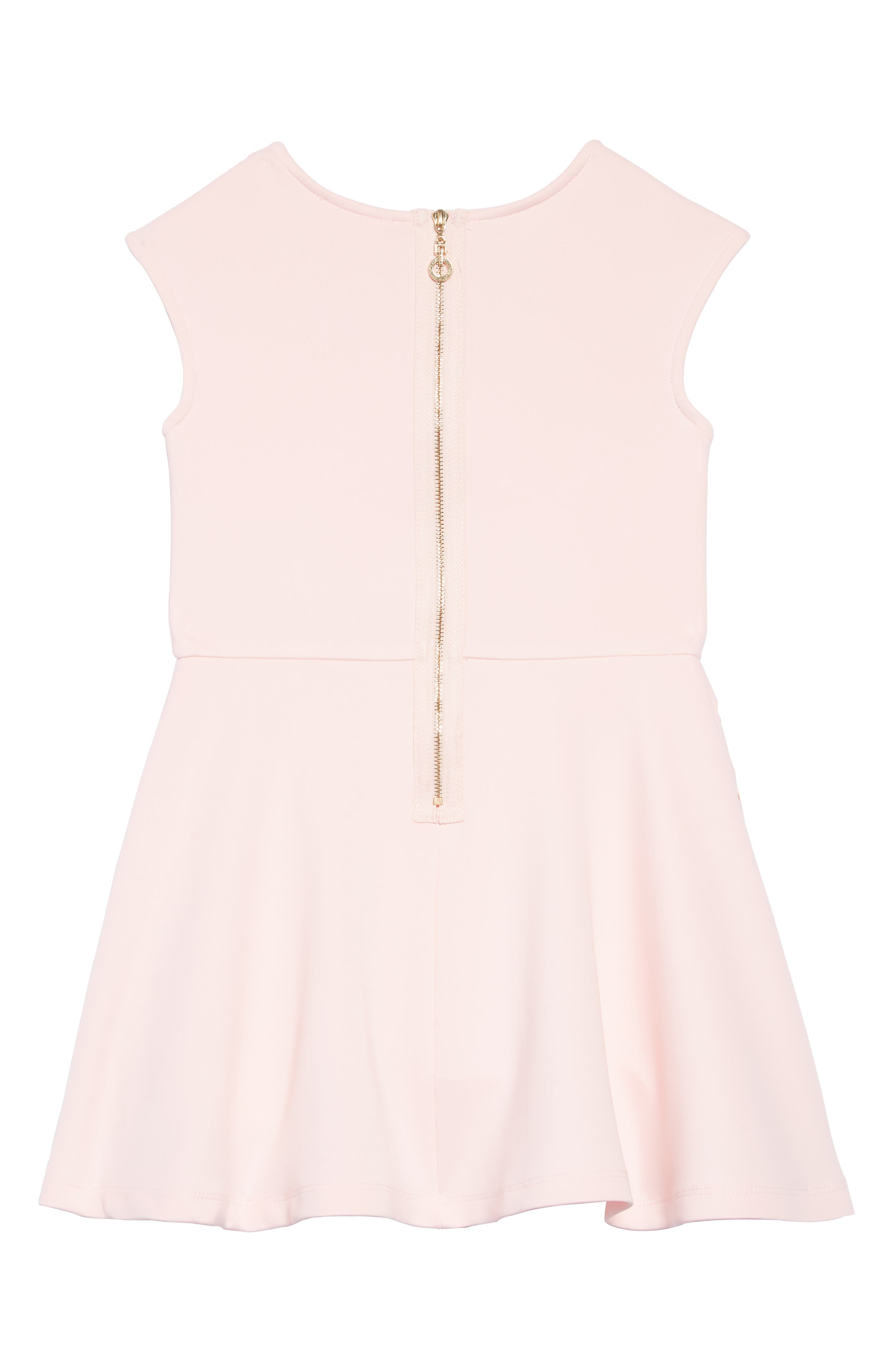 TRULY ME,                             Laser Cut Floral Fit & Flare Dress,                             Alternate thumbnail 2, color,                             PINK-WHITE