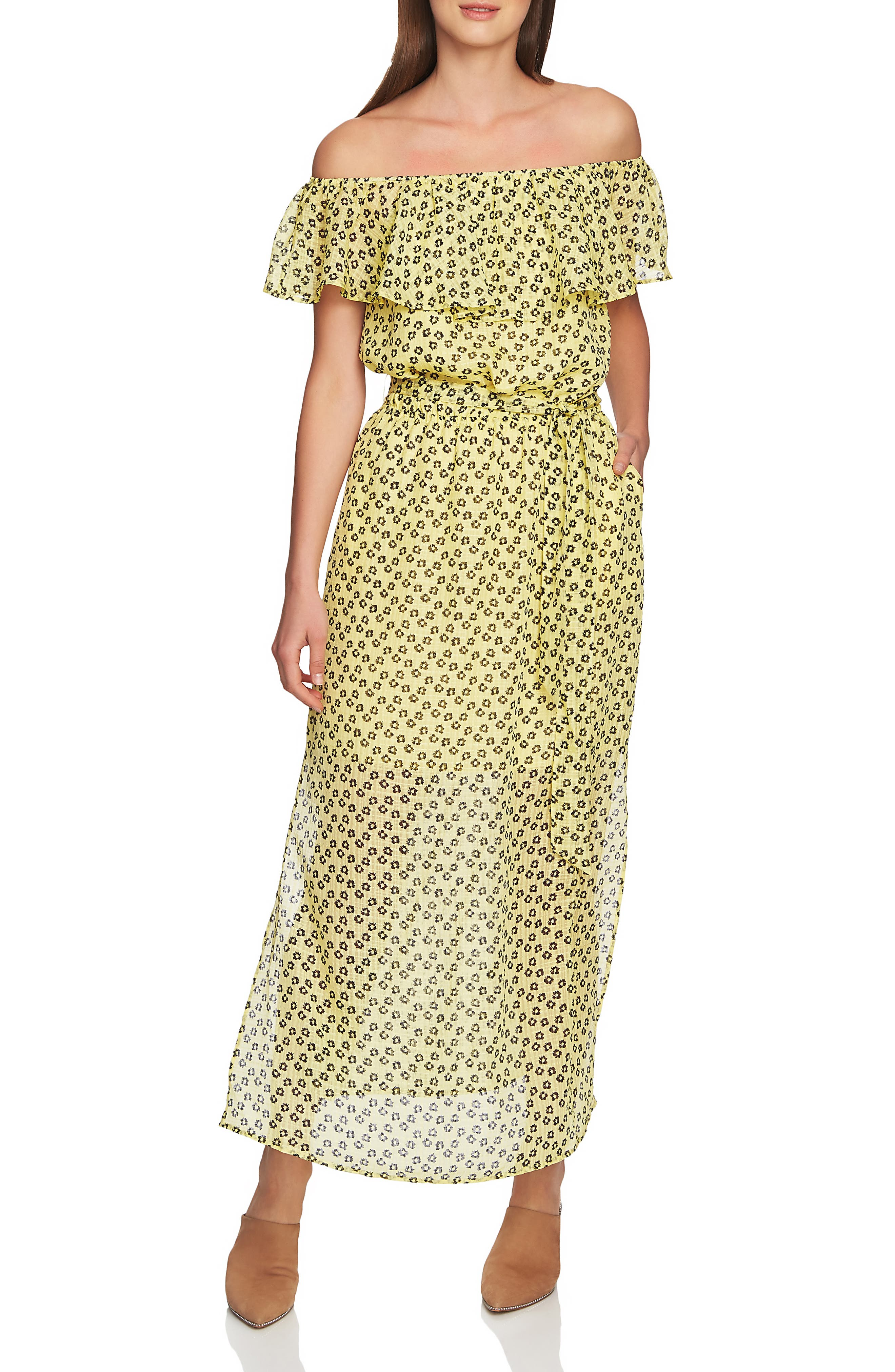 1.state Off The Shoulder Flower Maxi Dress, Yellow