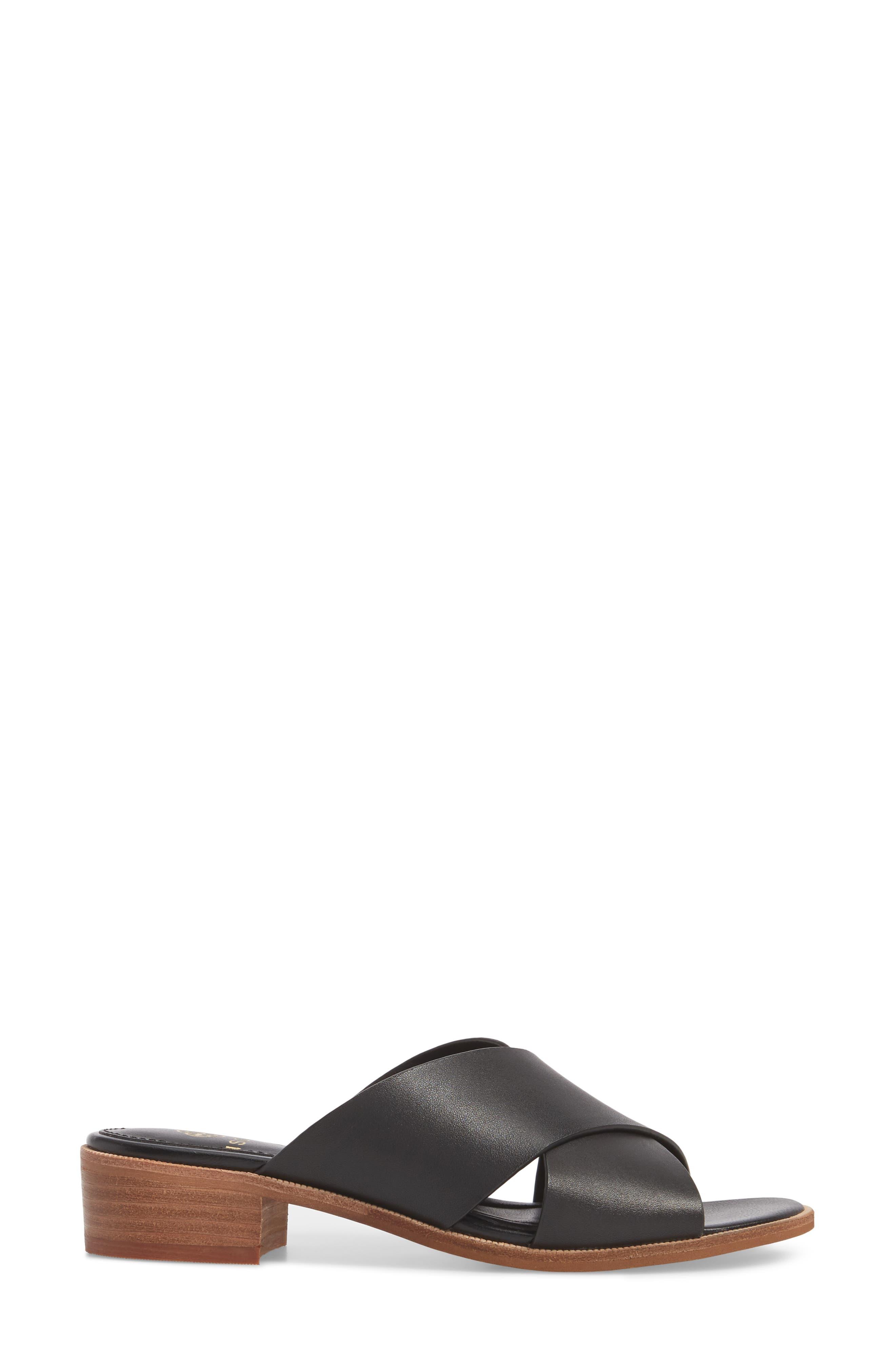Isola Ginata Slide Sandal,                             Alternate thumbnail 3, color,                             BLACK LEATHER