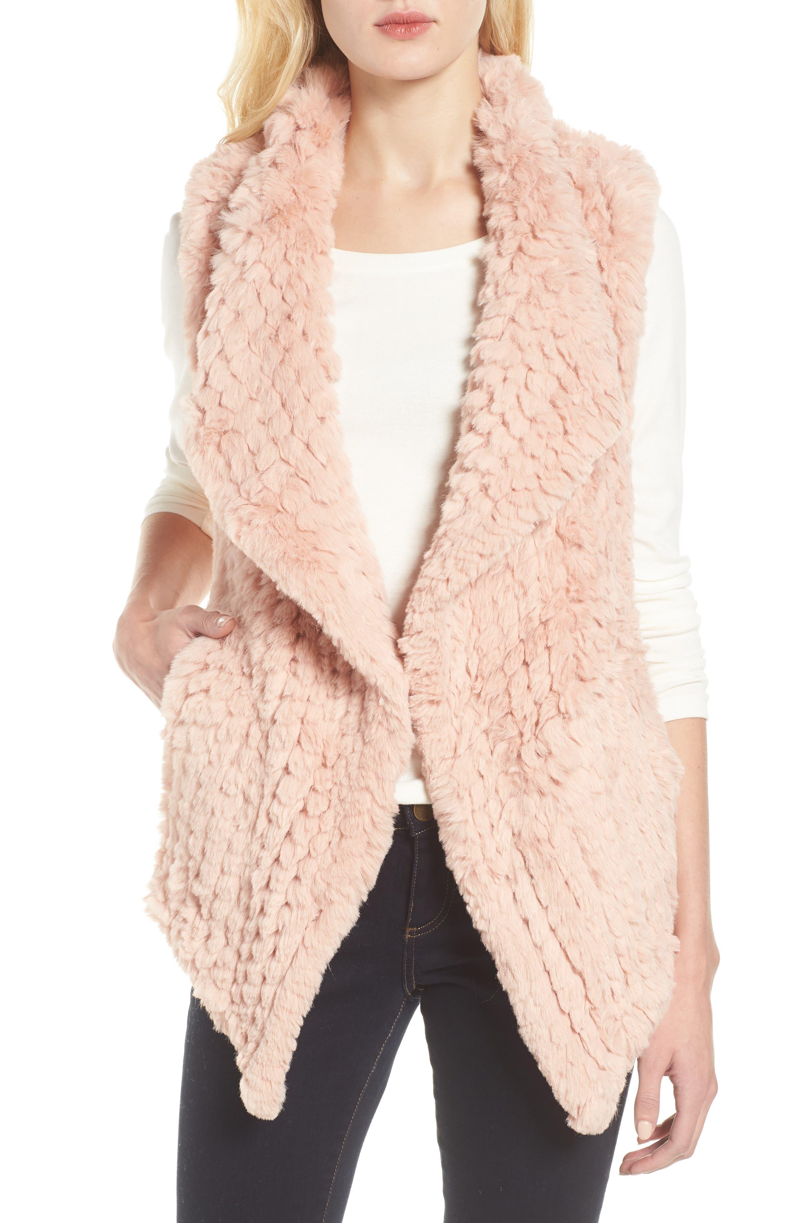 Faux Fur Vest, Main, color, PINK